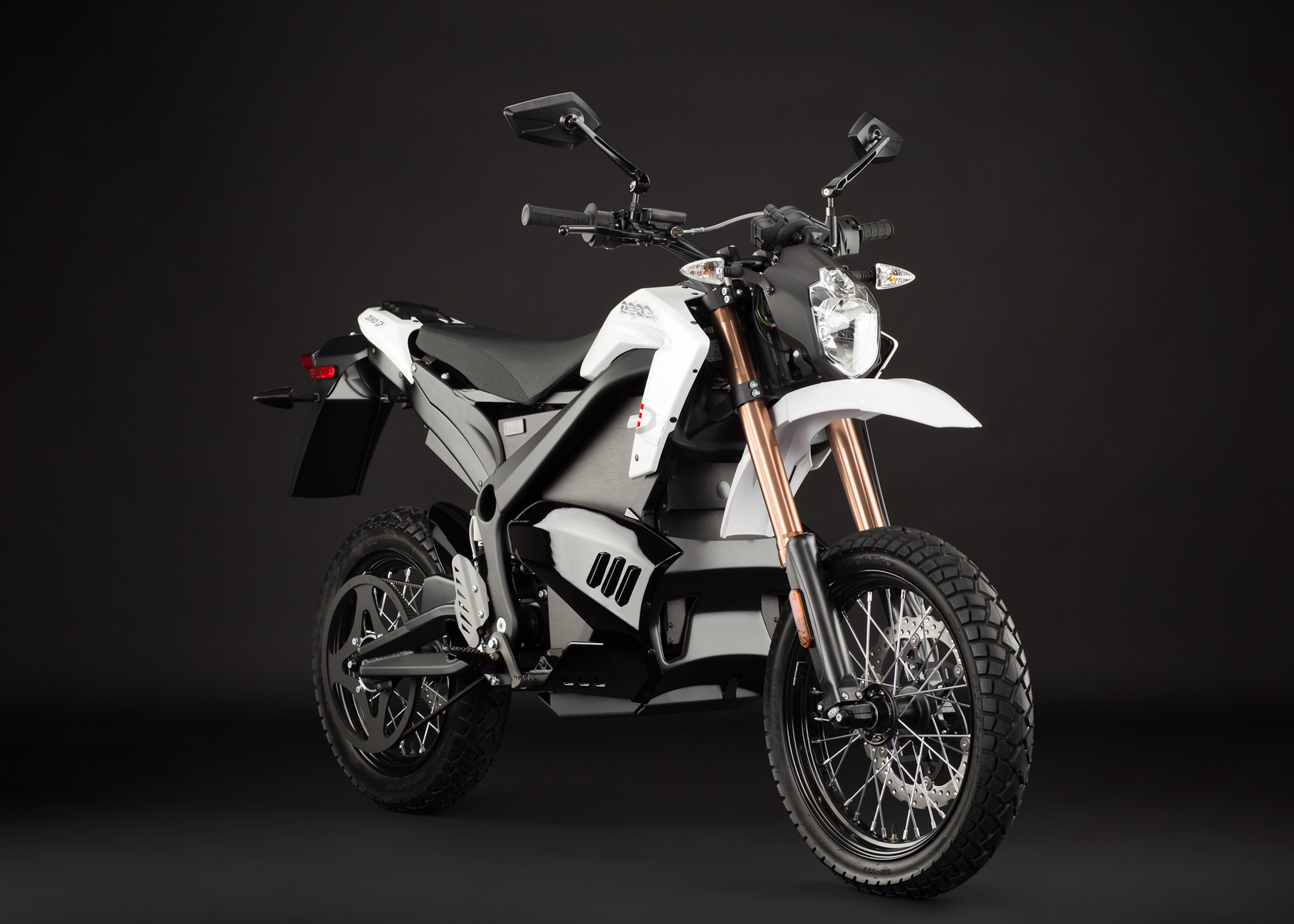 '.2012 Zero DS Electric Motorcycle: White Angle Right.'