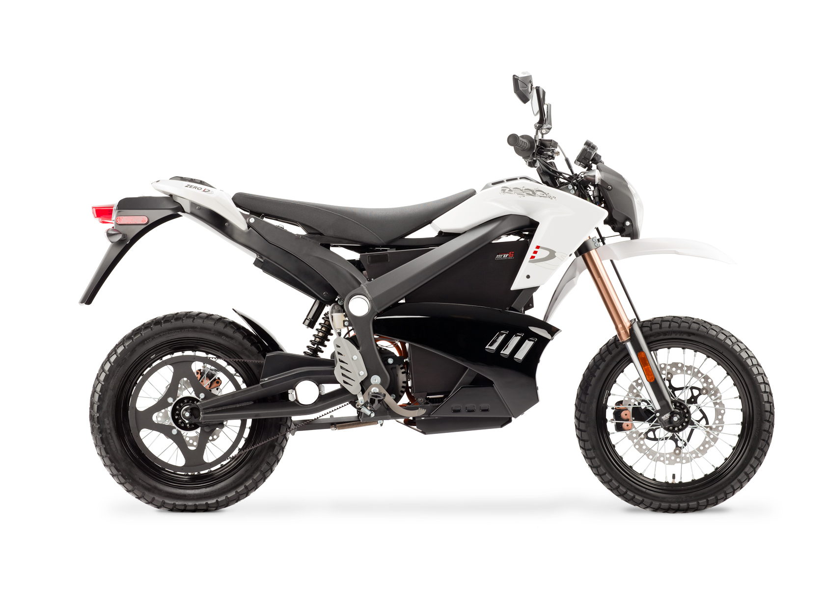'.2012 Zero DS Electric Motorcycle: White Profile Right, White Background.'