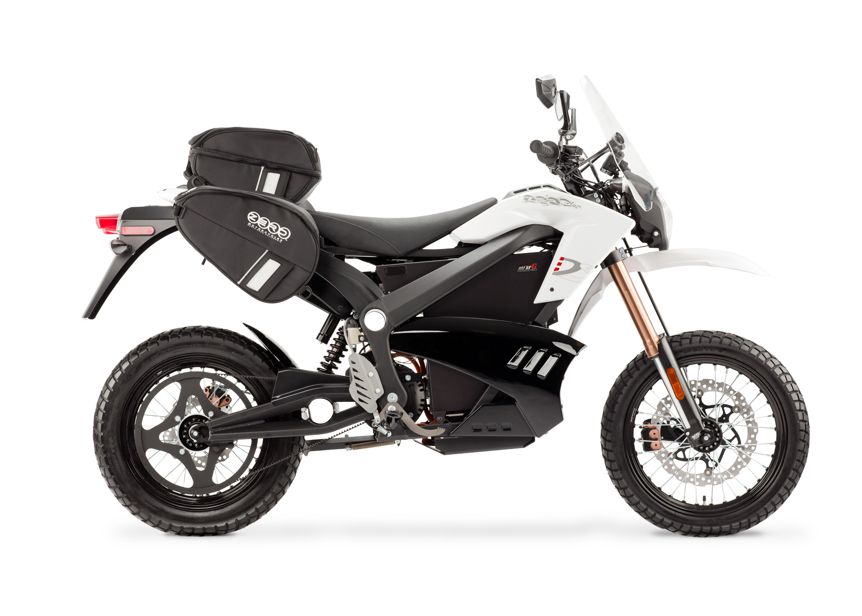 '.2012 Zero DS Electric Motorcycle: White Profile Right with Side Bags and Windscreen, White Background.'