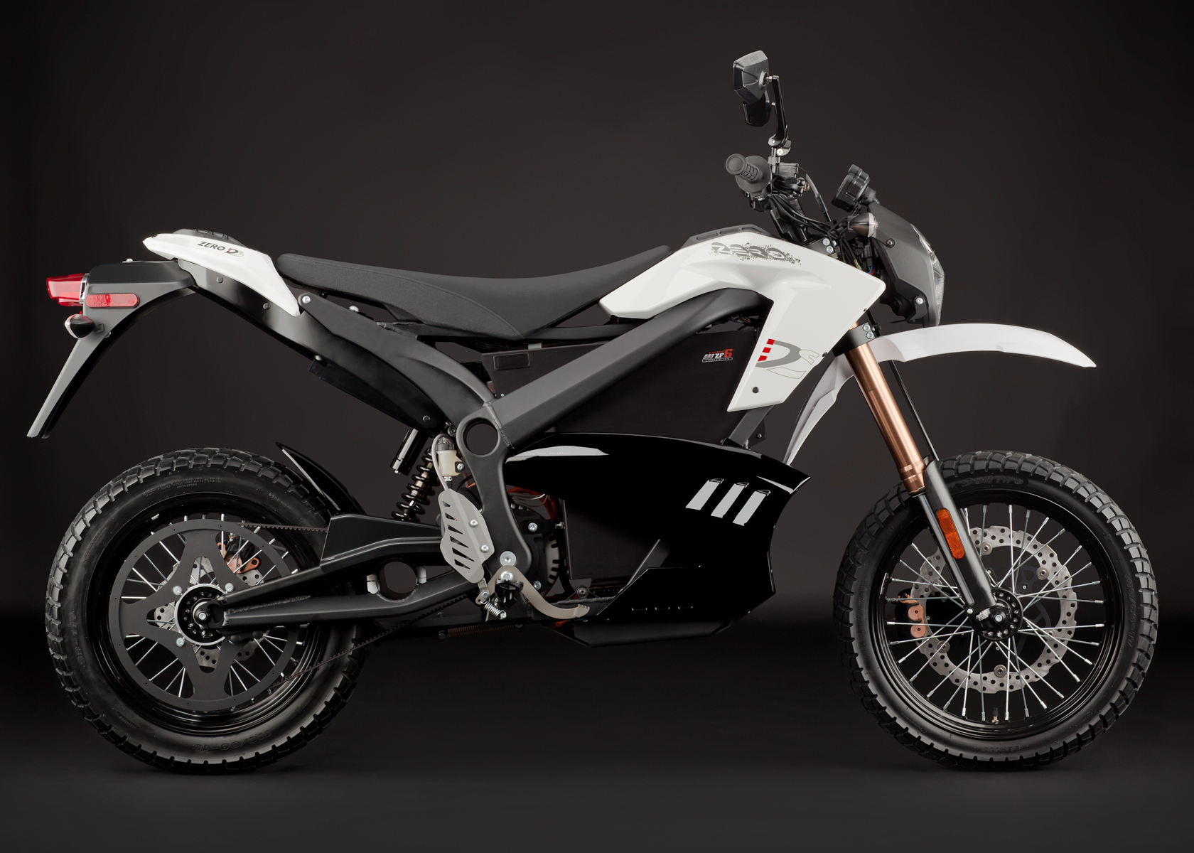 '.2012 Zero DS Electric Motorcycle: White Profile Right.'