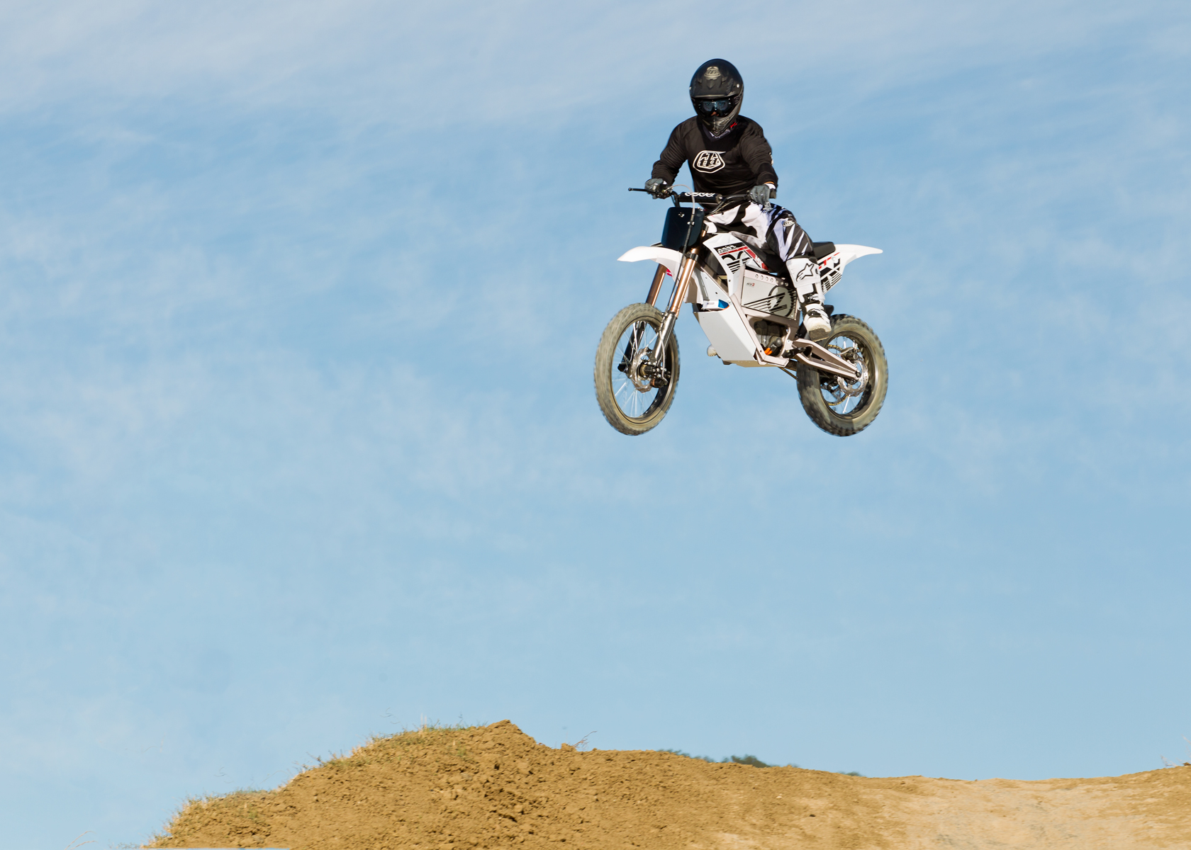 2012 Zero MX Electric Motorcycle: High Jump on Track