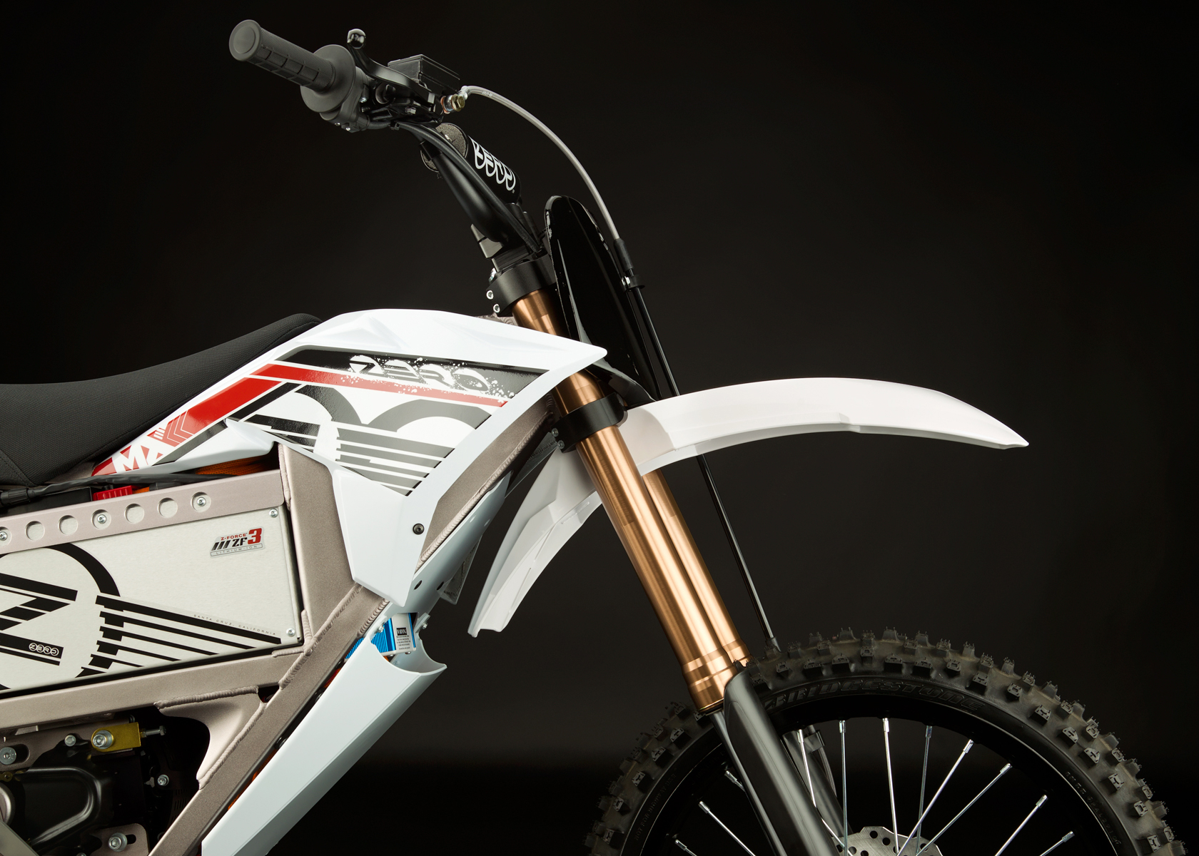 '.2012 Zero MX Electric Motorcycle: Front Fork.'