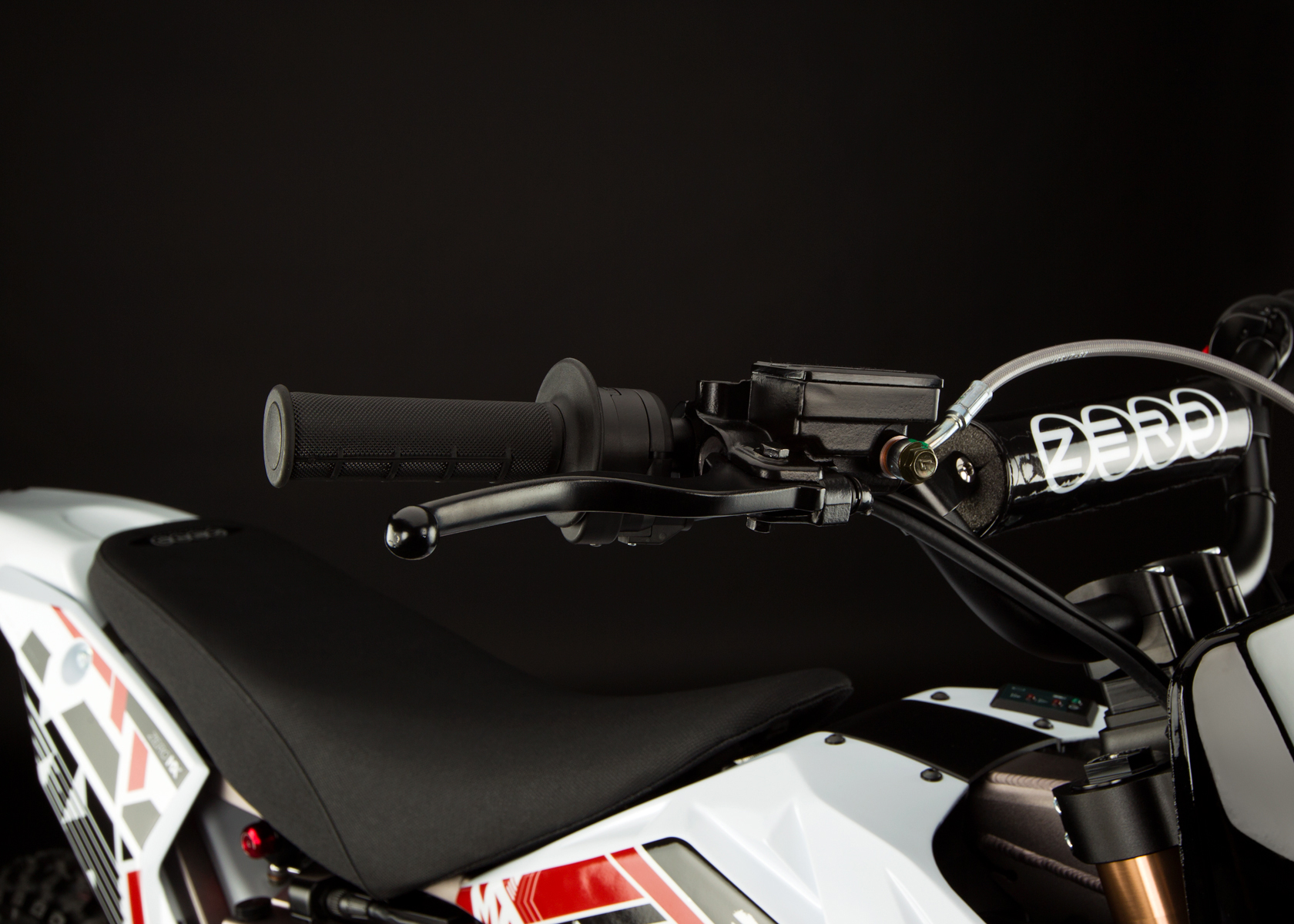'.2012 Zero MX Electric Motorcycle: Front Hand Brake.'