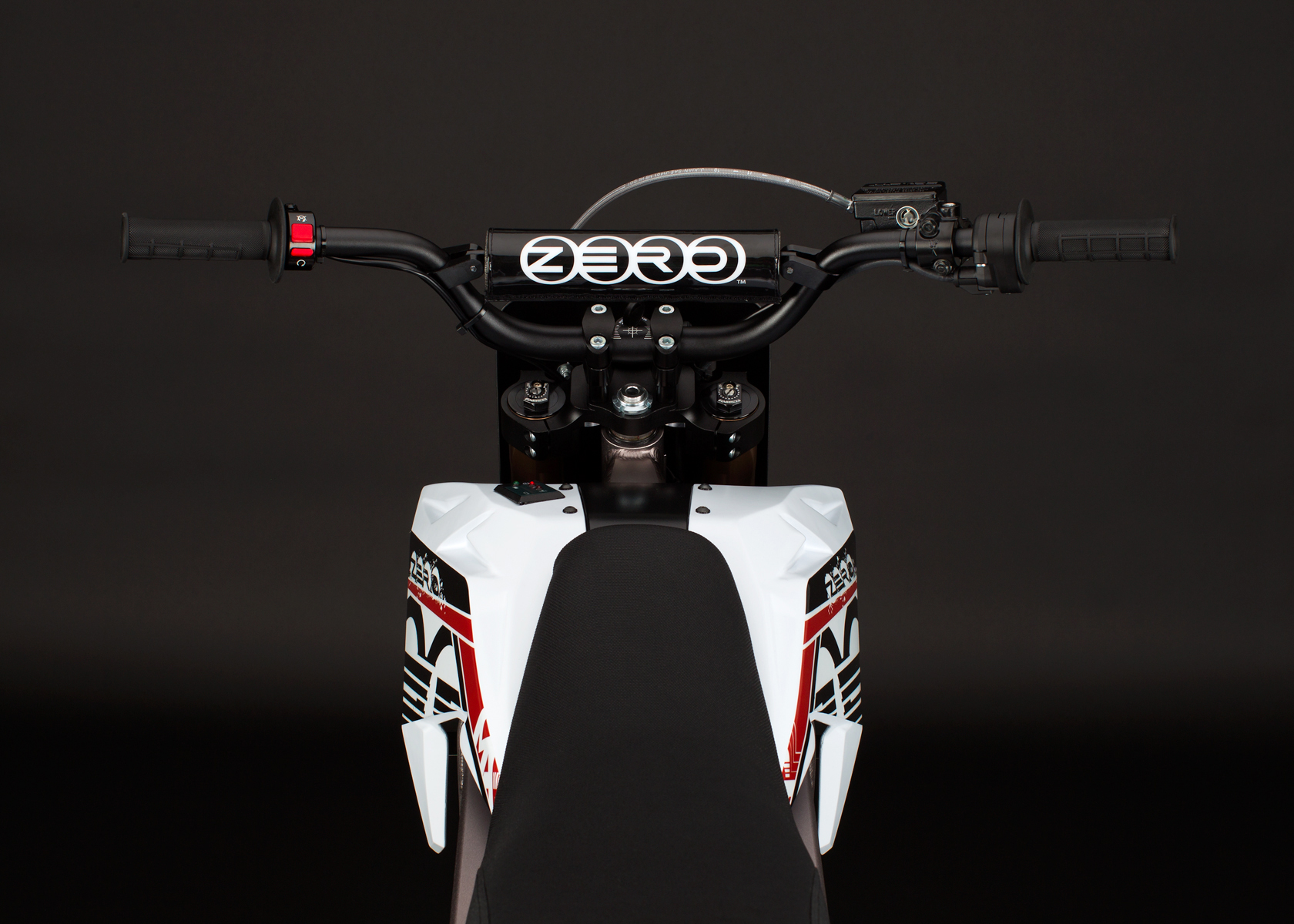 '.2012 Zero MX Electric Motorcycle: Handlebars.'