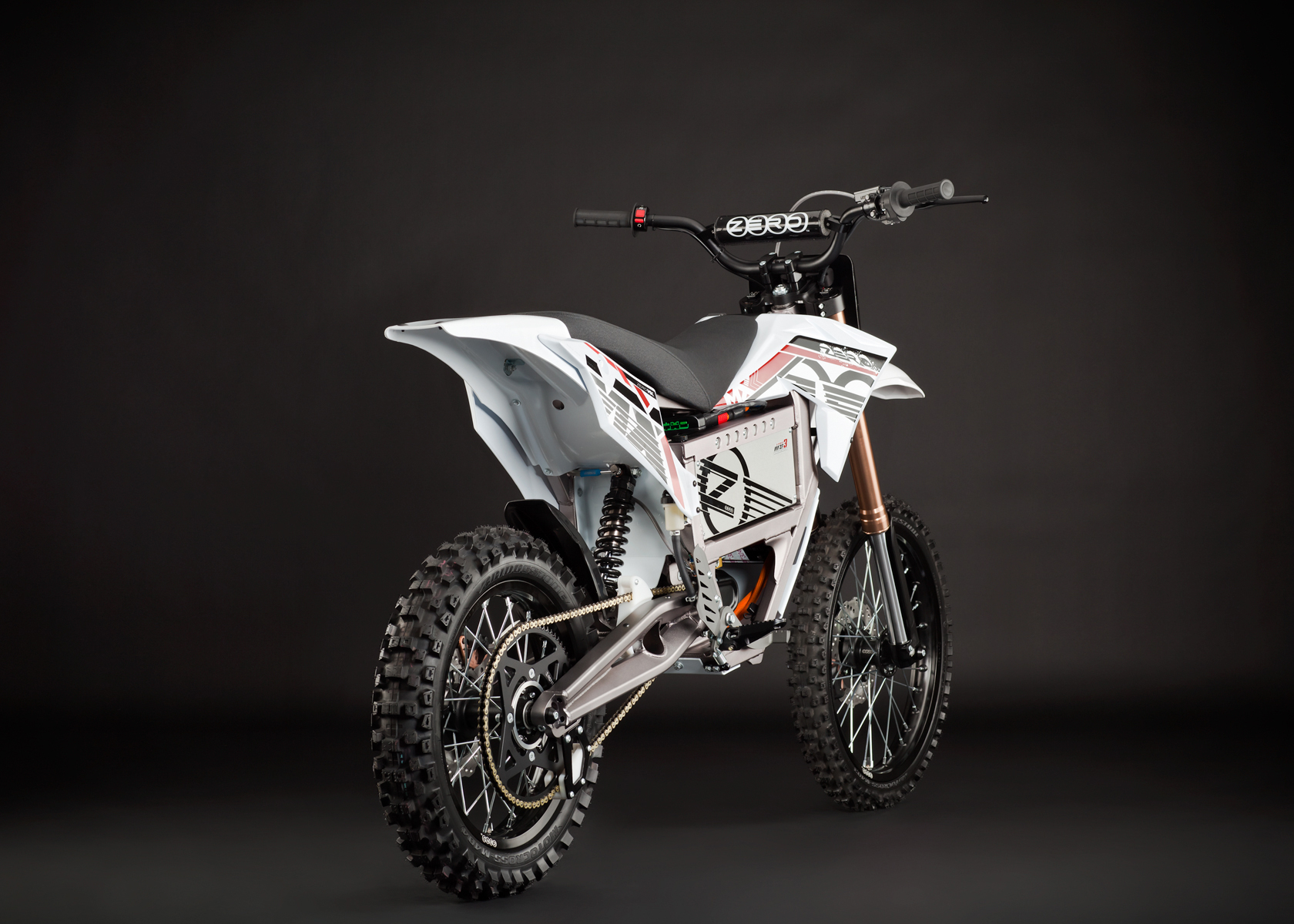 '.2012 Zero MX Electric Motorcycle: Angle Right, Rear View.'