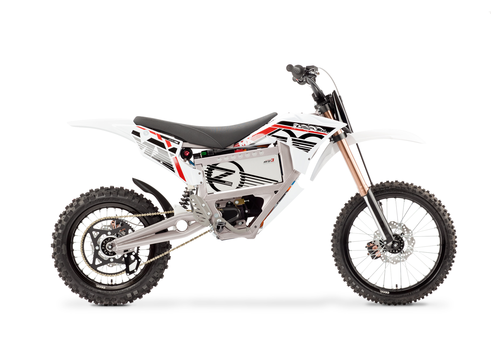 '.2012 Zero MX Electric Motorcycle: Right Profile, White Background.'