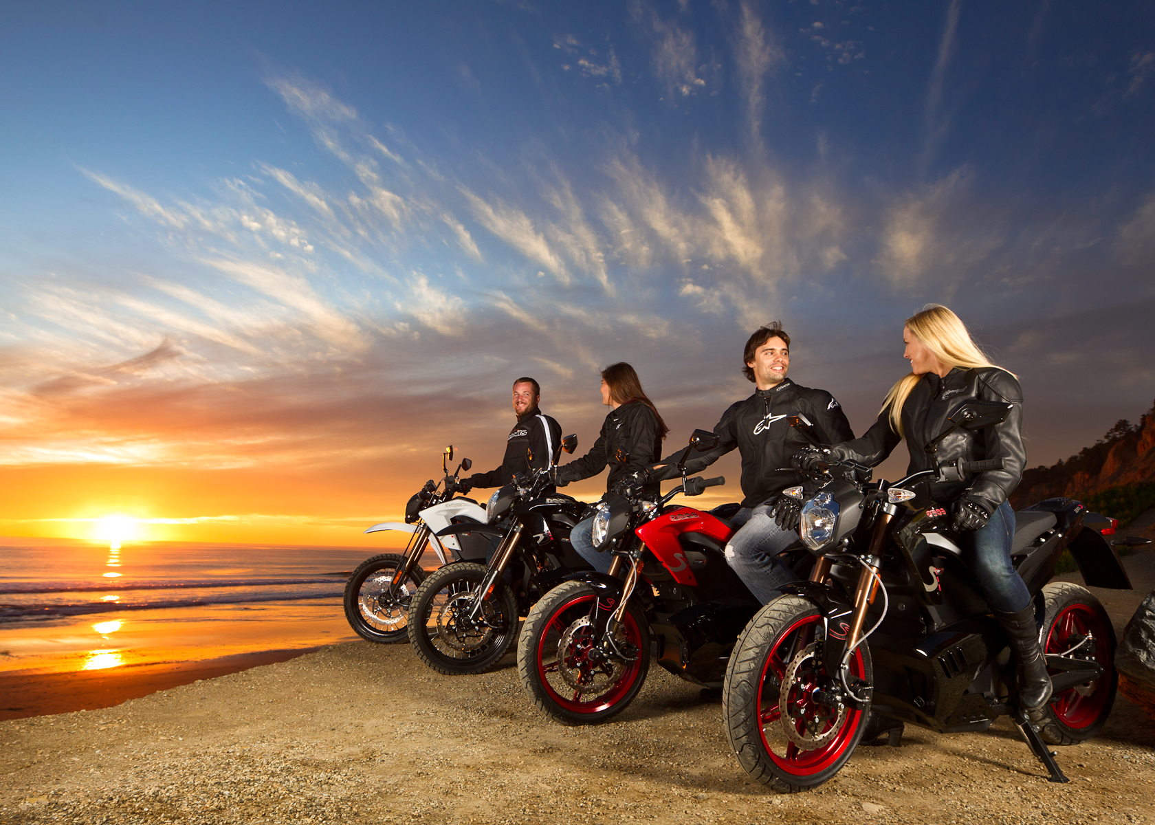 '.2012 Zero Motorcycles: Beach at Sunset.'