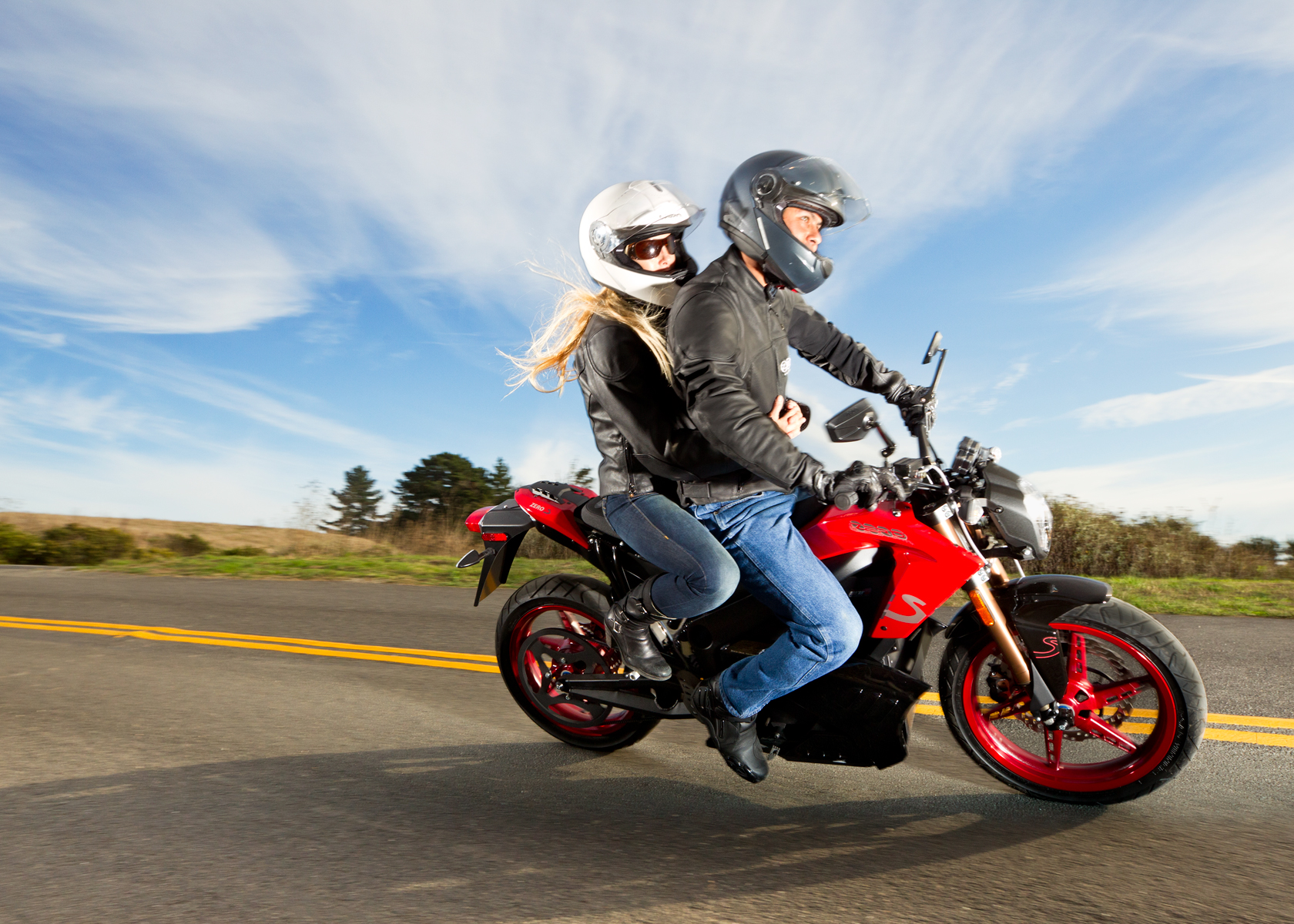 '.2012 Zero S Electric Motorcycle: Rider and Companion, Cruising.'