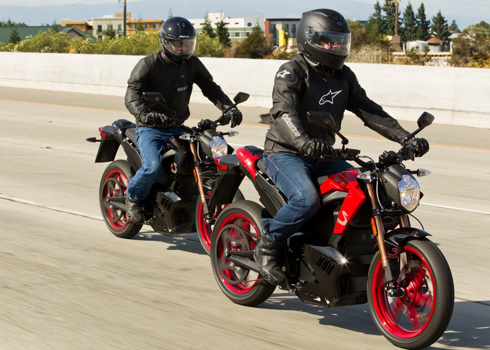 '.2012 Zero S Electric Motorcycle: Pair, Cruising in the City.'