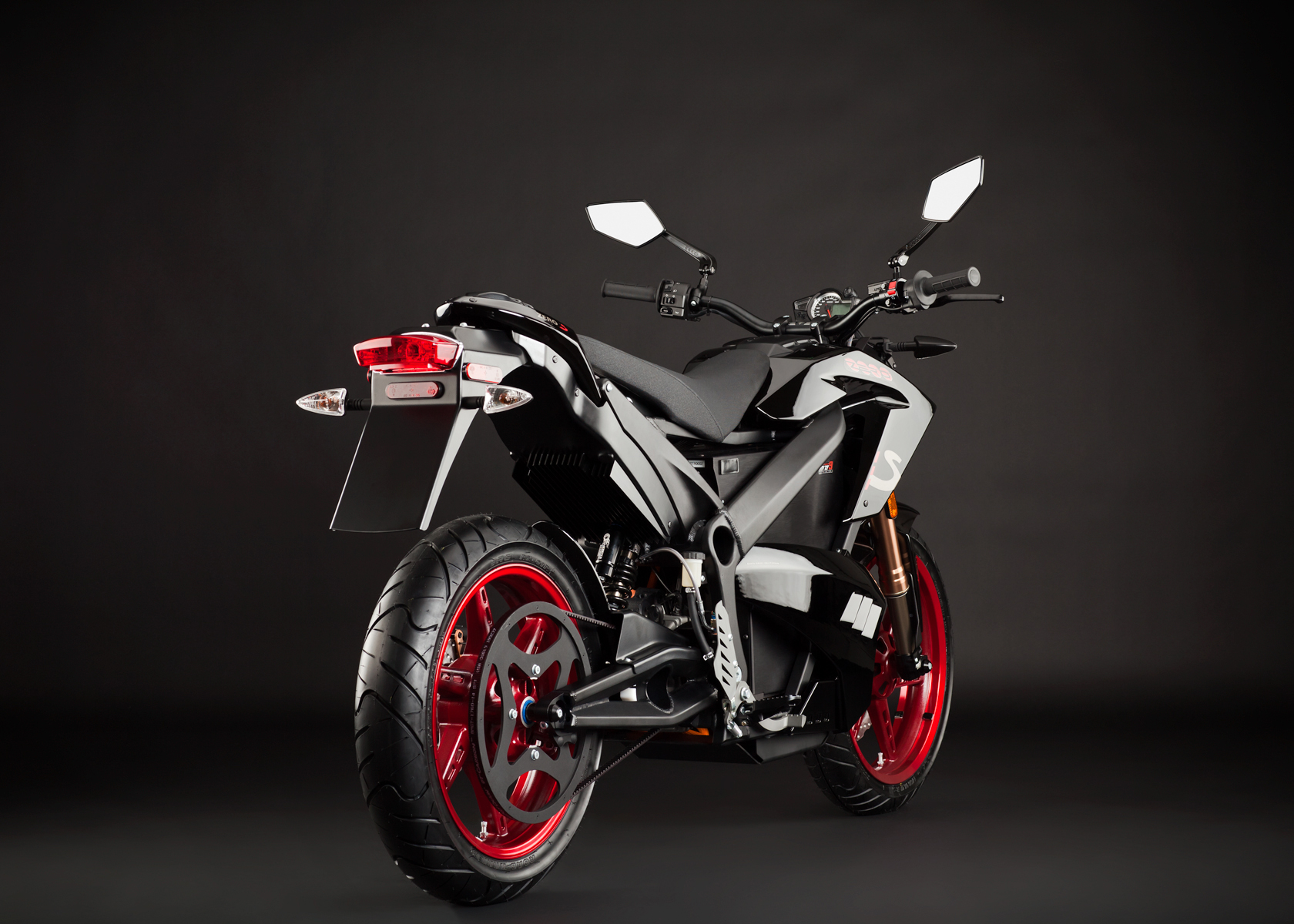 '.2012 Zero S Electric Motorcycle: Angle Right, Rear View.'