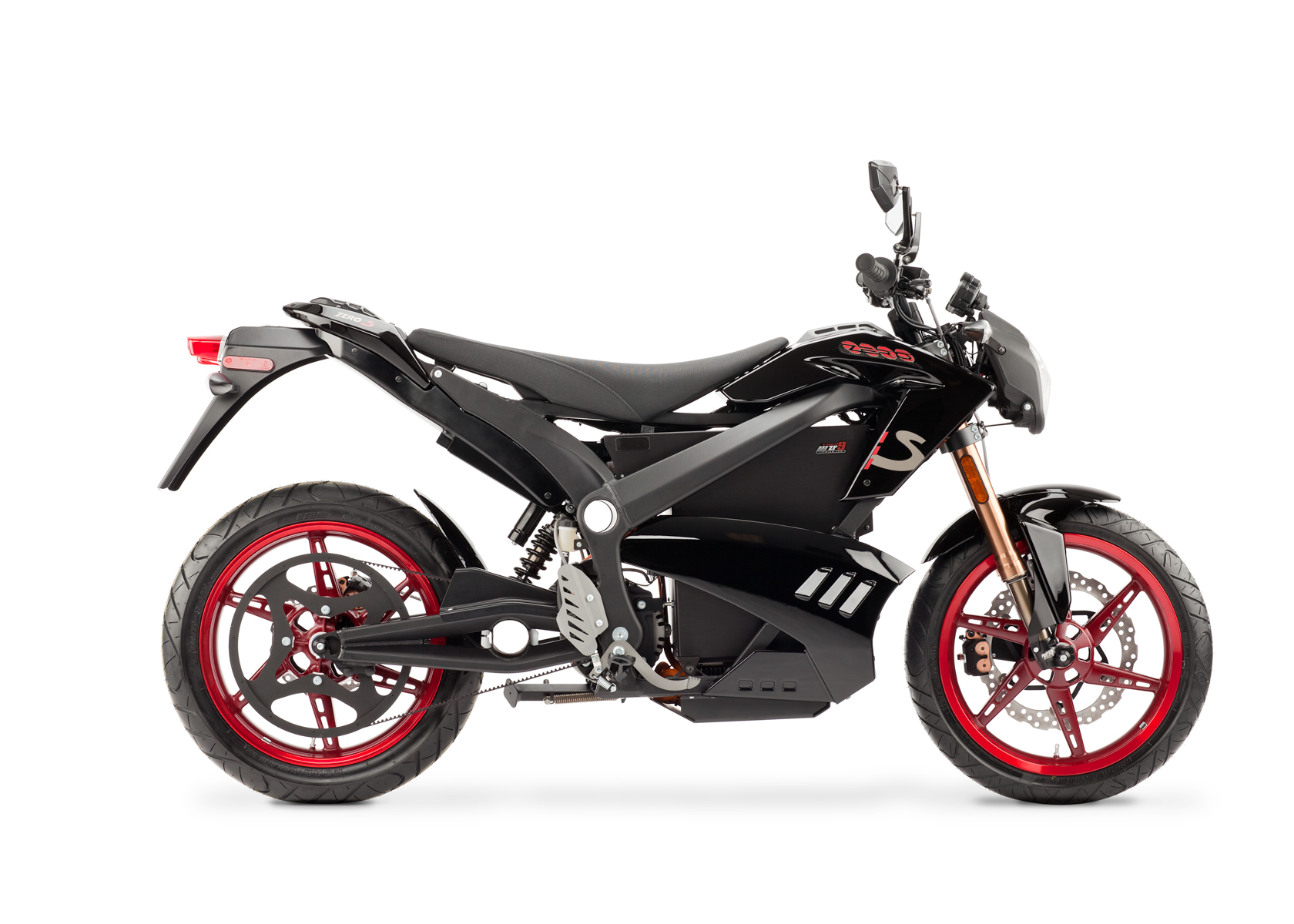 '.2012 Zero S Electric Motorcycle: Black Profile Right, White Background.'