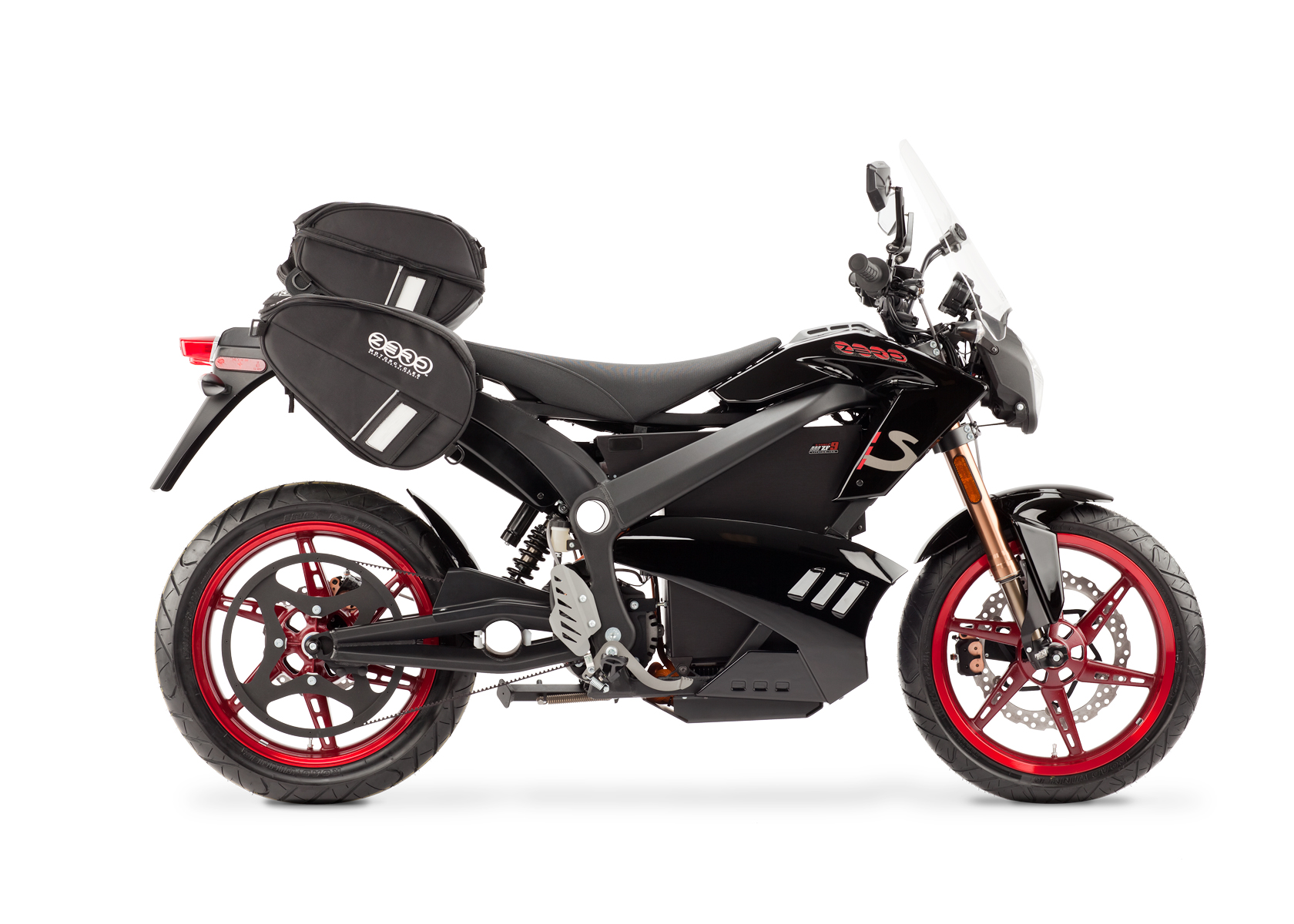 2012 Zero S Electric Motorcycle: Black Profile Right with Side Bags and Windscreen, White Background