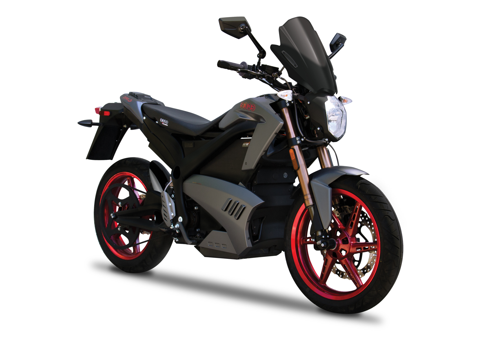 '.2012 Zero S ZF9 Limited Edition Electric Motorcycle: Angle Right with Front Cowel, White Background.'