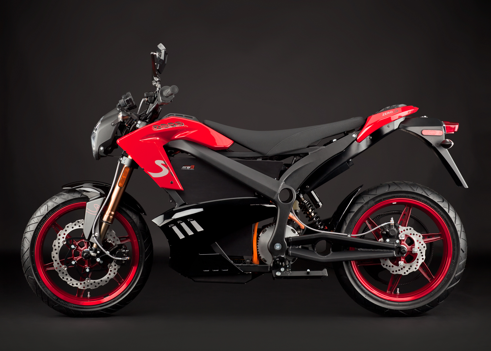 '.2012 Zero S Electric Motorcycle: Red Profile Left.'