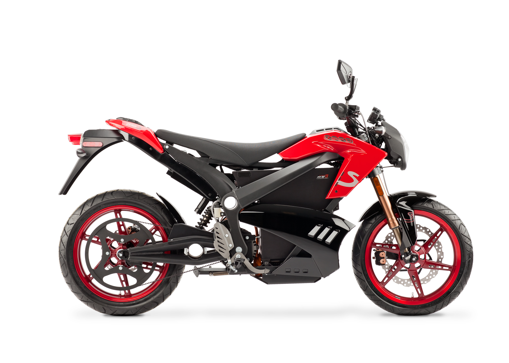 '.2012 Zero S Electric Motorcycle: Red Profile Right, White Background.'