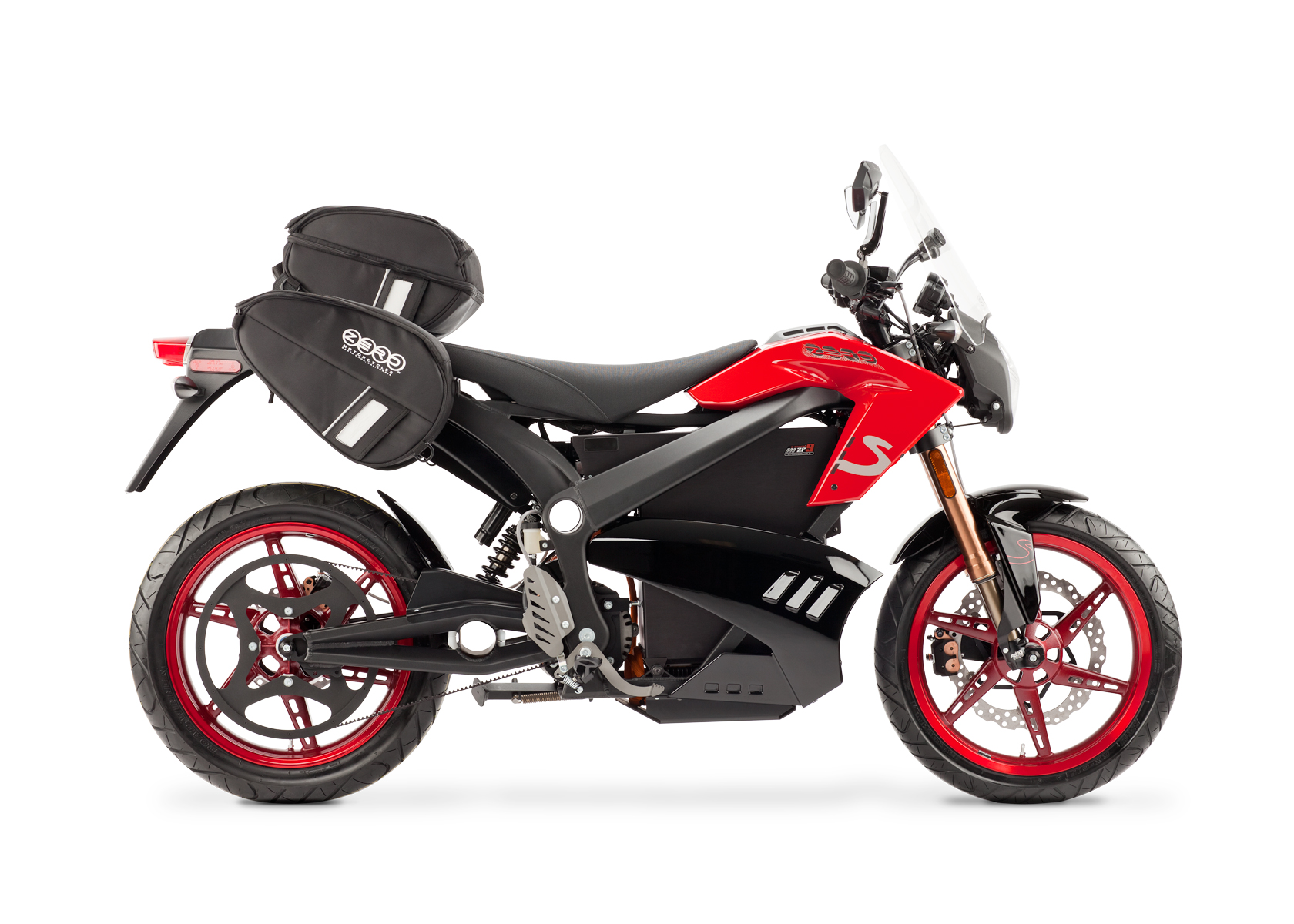'.2012 Zero S Electric Motorcycle: Red Profile Right with Side Bags and Windscreen, White Background.'