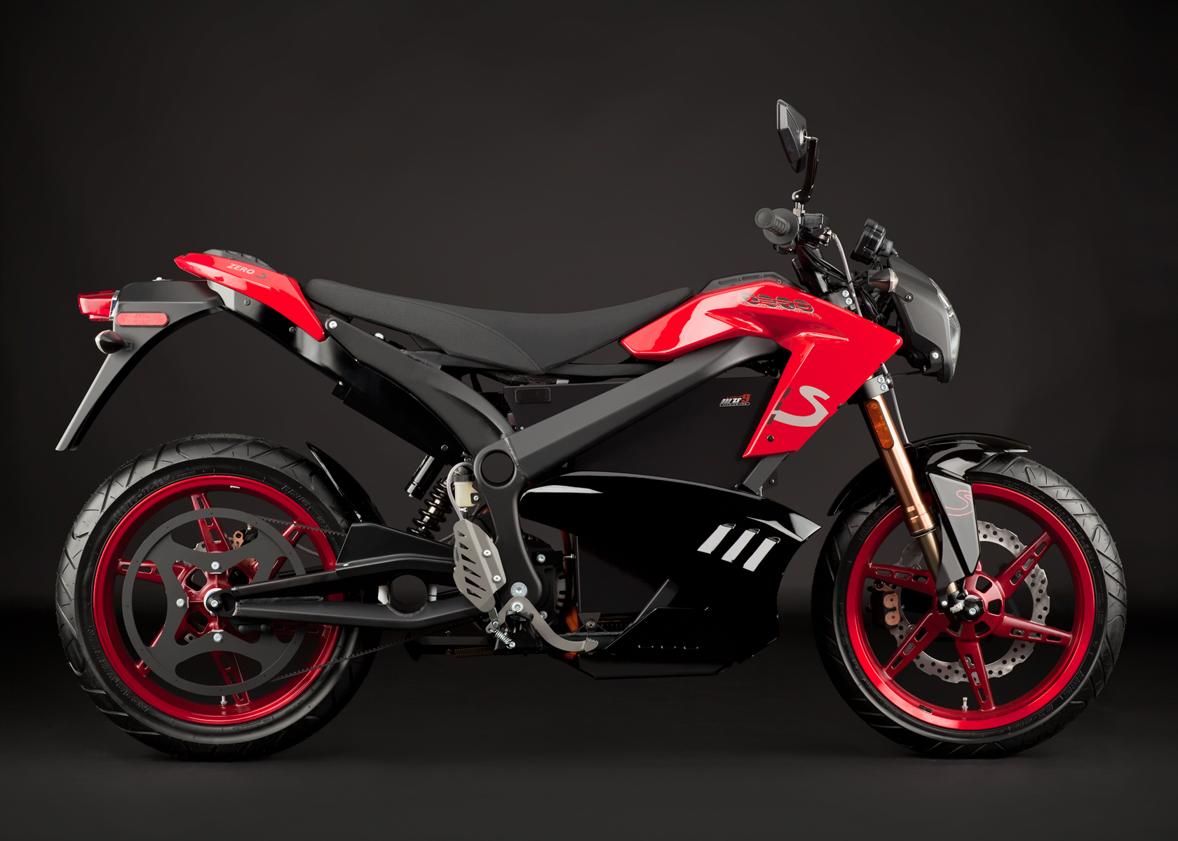 2012 Zero S Electric Motorcycle: Red Angle Right with Sidebags, Rear View