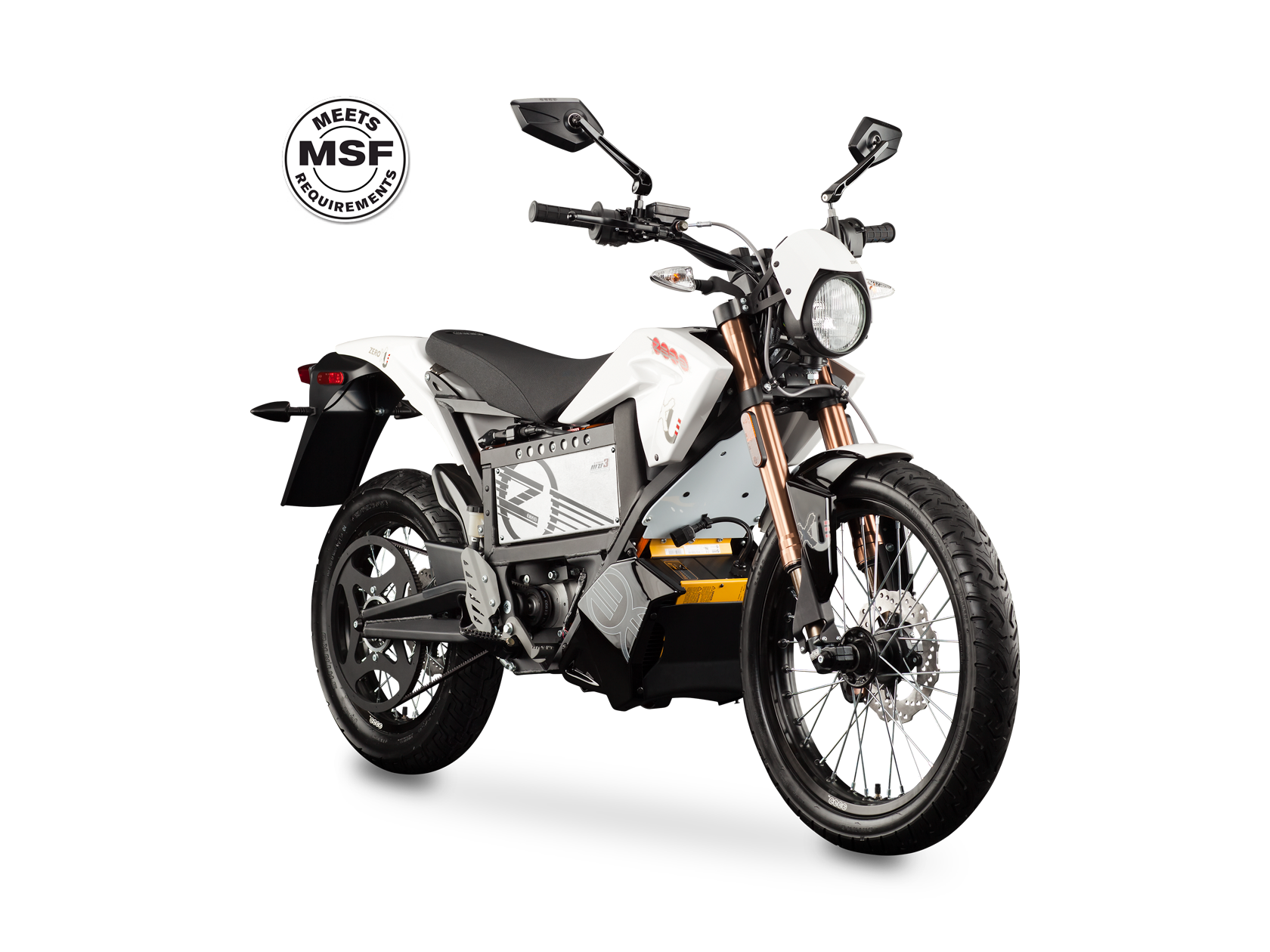 2012 Zero XU Training Motorcycle: Angle Left, MSF Badge