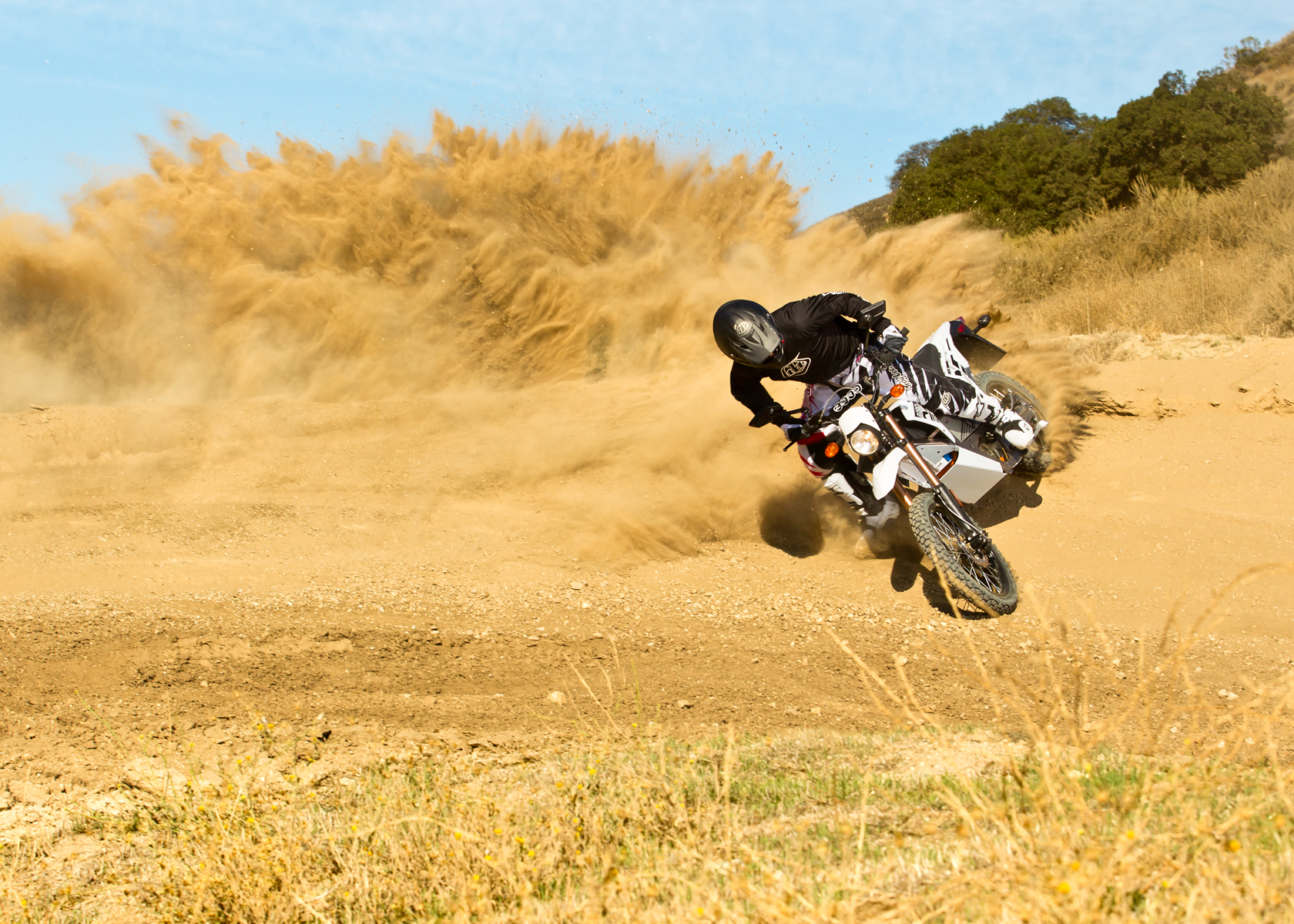 '.2012 Zero X Electric Motorcycle: Dirt Track, Foot Down.'