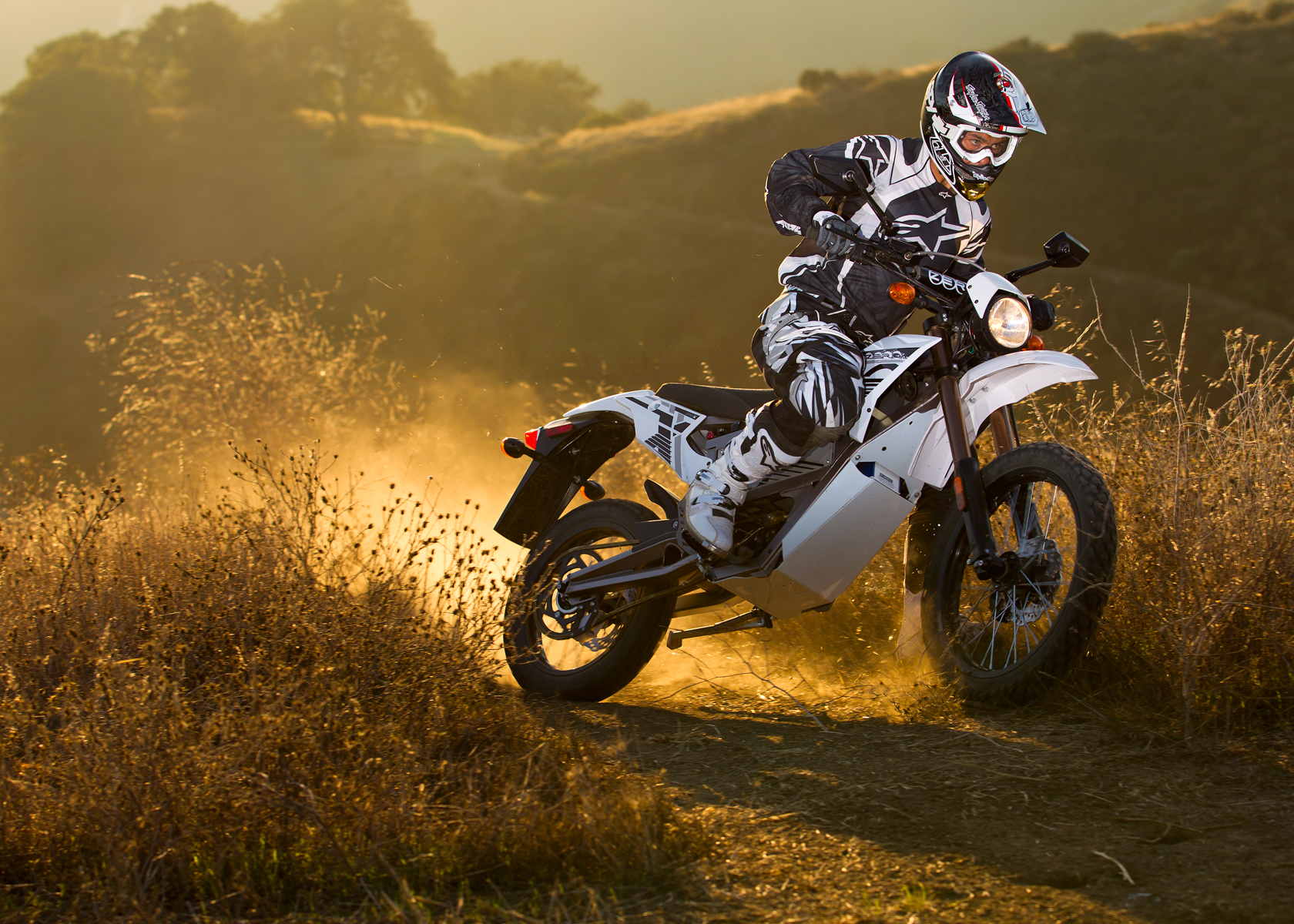 '.2012 Zero X Electric Motorcycle: Charging Down Trail.'