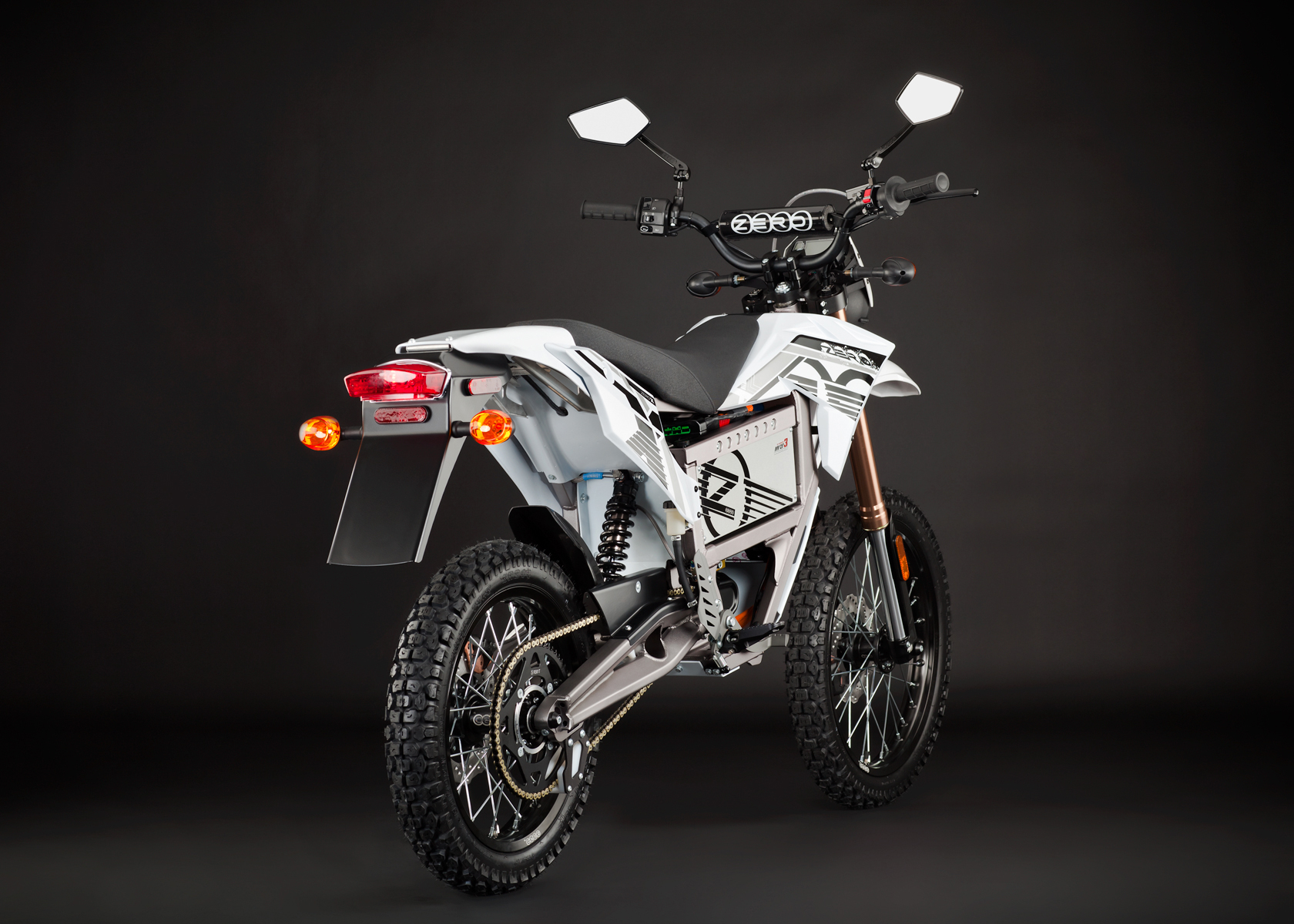 '.2012 Zero X Electric Motorcycle: Angle Right, Rear View.'