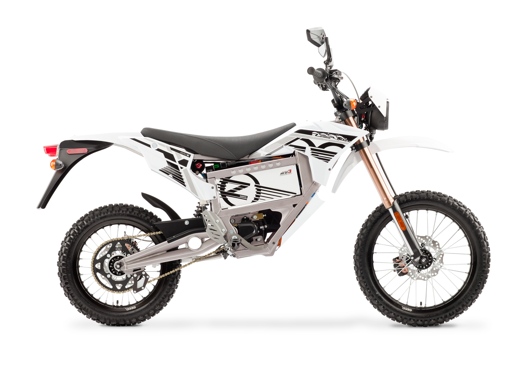 '.2012 Zero X Electric Motorcycle: Profile Right, White Background.'