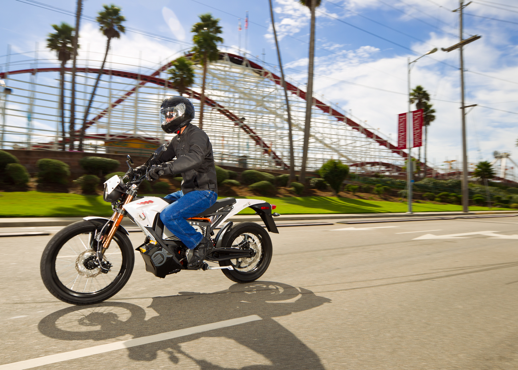 '.2012 Zero XU Electric Motorcycle: Santa Cruz Boardwalk.'