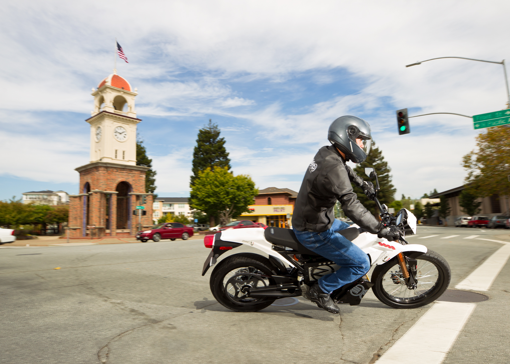 '.2012 Zero XU Electric Motorcycle: Santa Cruz Clock Tower.'