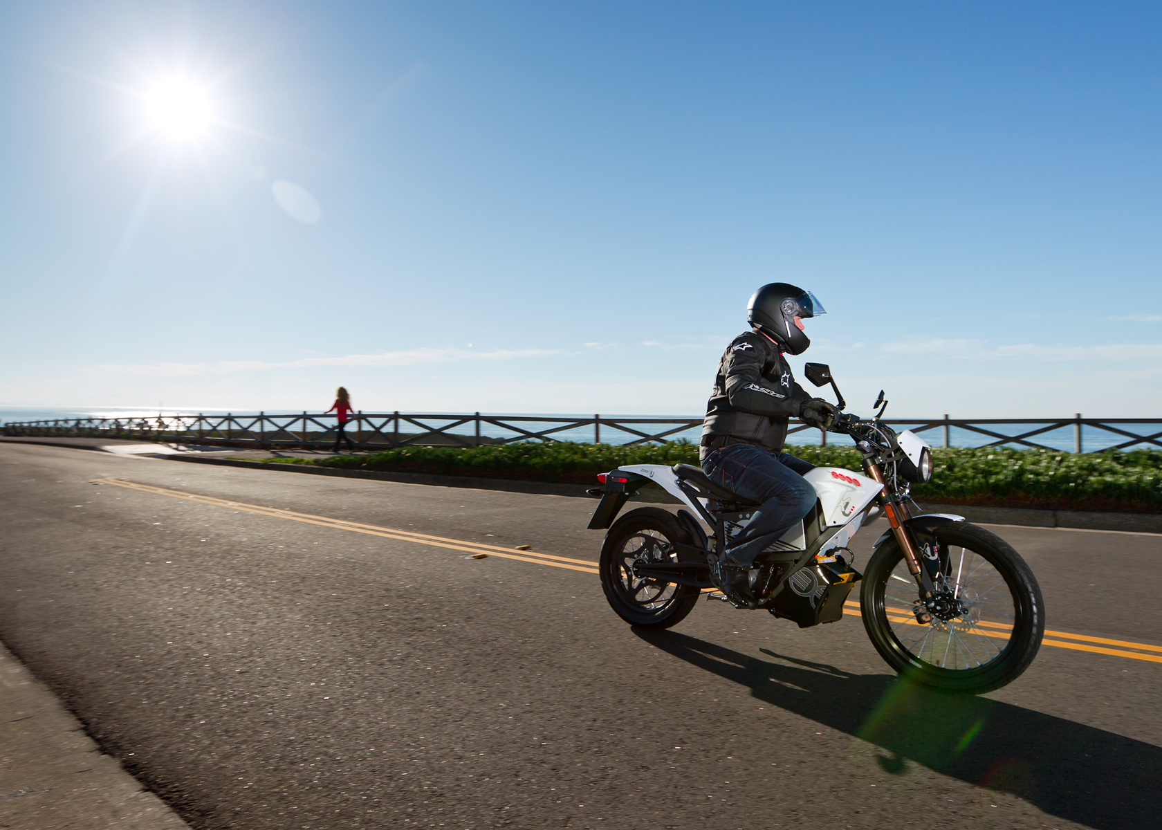'.2012 Zero XU Electric Motorcycle: Cruising on West Cliff in Santa Cruz.'