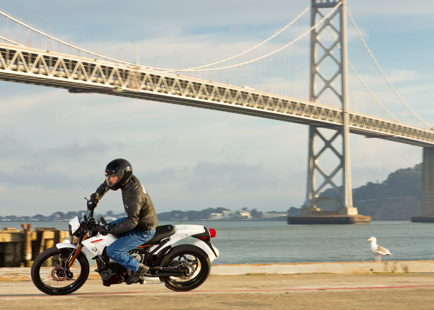 '.2012 Zero XU Electric Motorcycle: Cruising, Lean Left.'