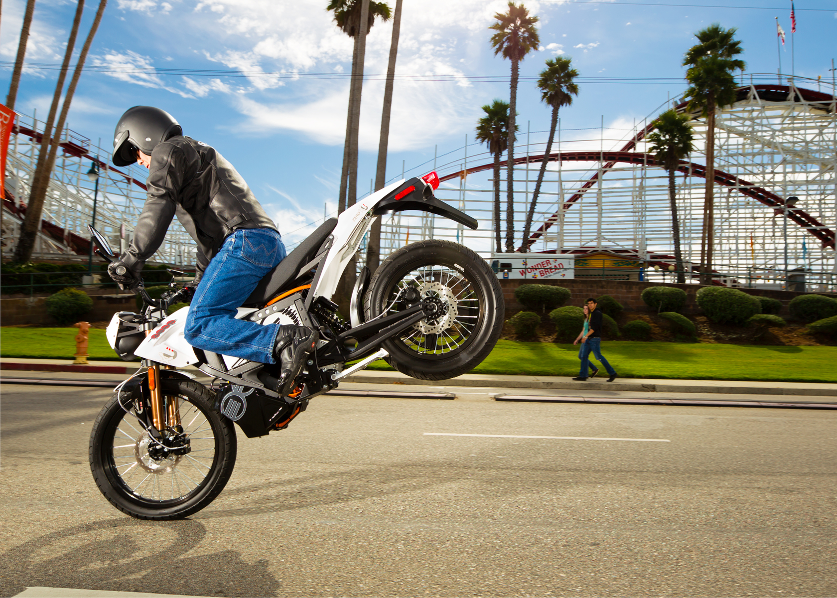 '.2012 Zero XU Electric Motorcycle: Wheelie, Santa Cruz Boardwalk.'