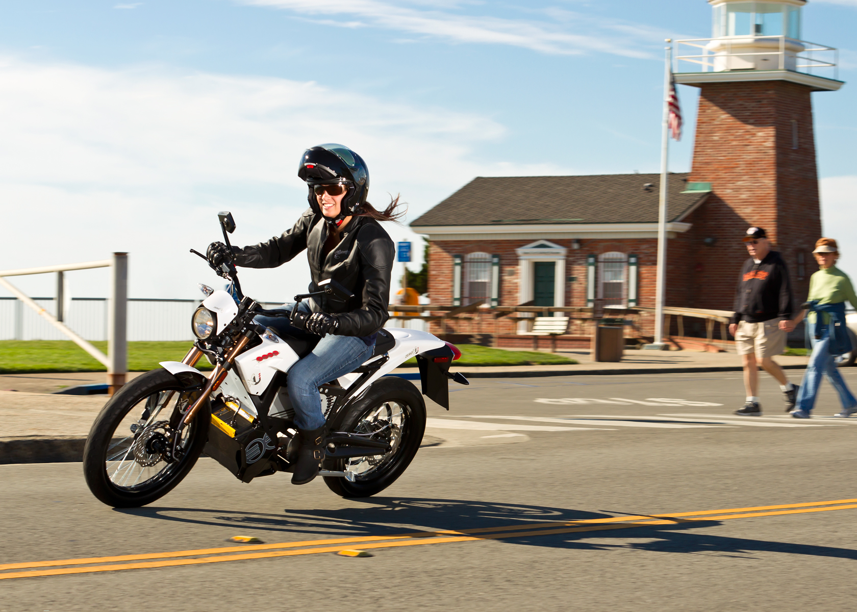 '.2012 Zero XU Electric Motorcycle: Santa Cruz Lighthouse.'