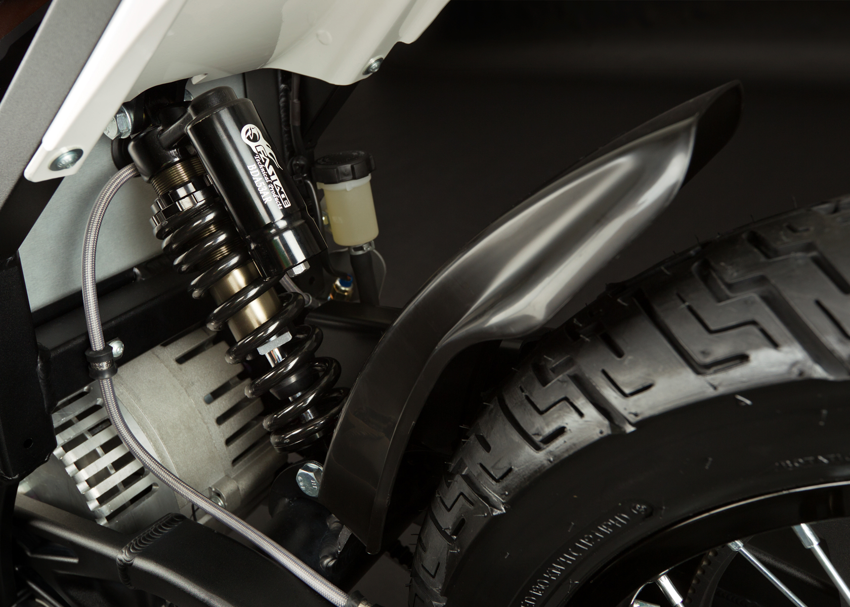'.2012 Zero XU Electric Motorcycle: Rear Tire / Rear Shock.'
