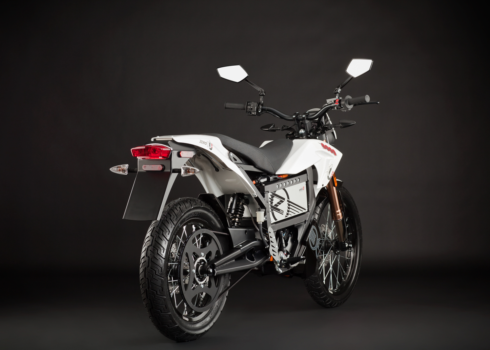 '.2012 Zero XU Electric Motorcycle: Angle Right, Rear View.'