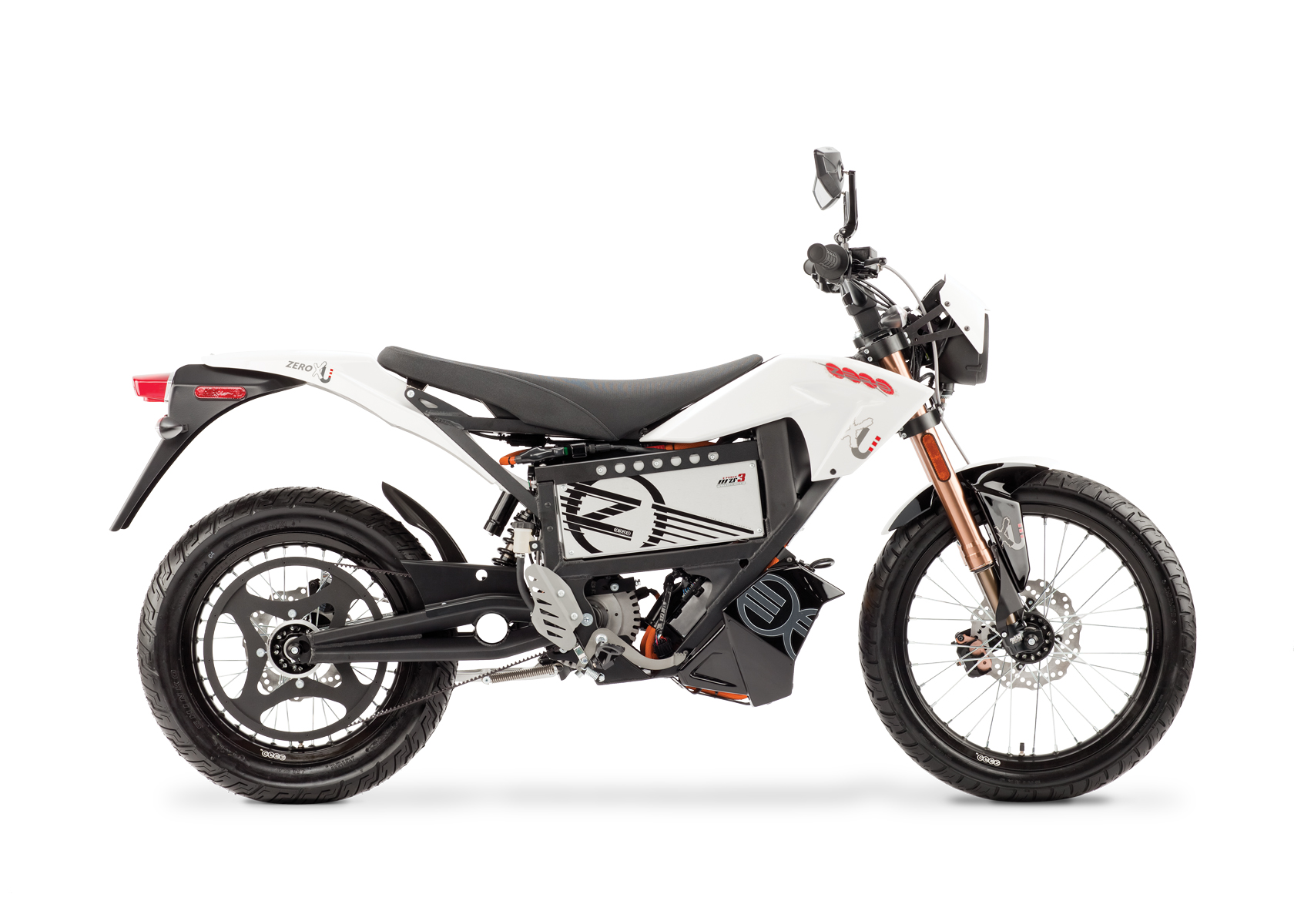 '.2012 Zero XU Electric Motorcycle: Profile Right, White Background.'