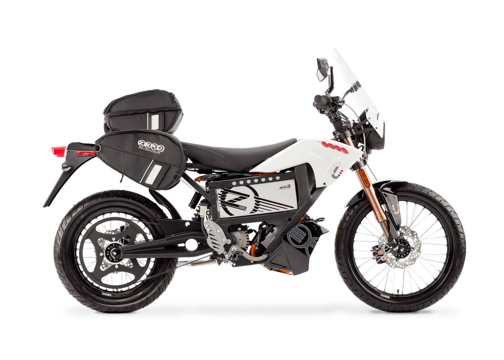 '.2012 Zero XU Electric Motorcycle: Profile Right with Side Bags and Windscreen, White Background.'