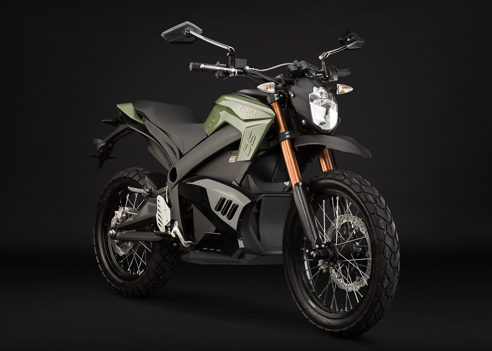 '.2013 Zero DS Electric Motorcycle: Green Angle Right.'