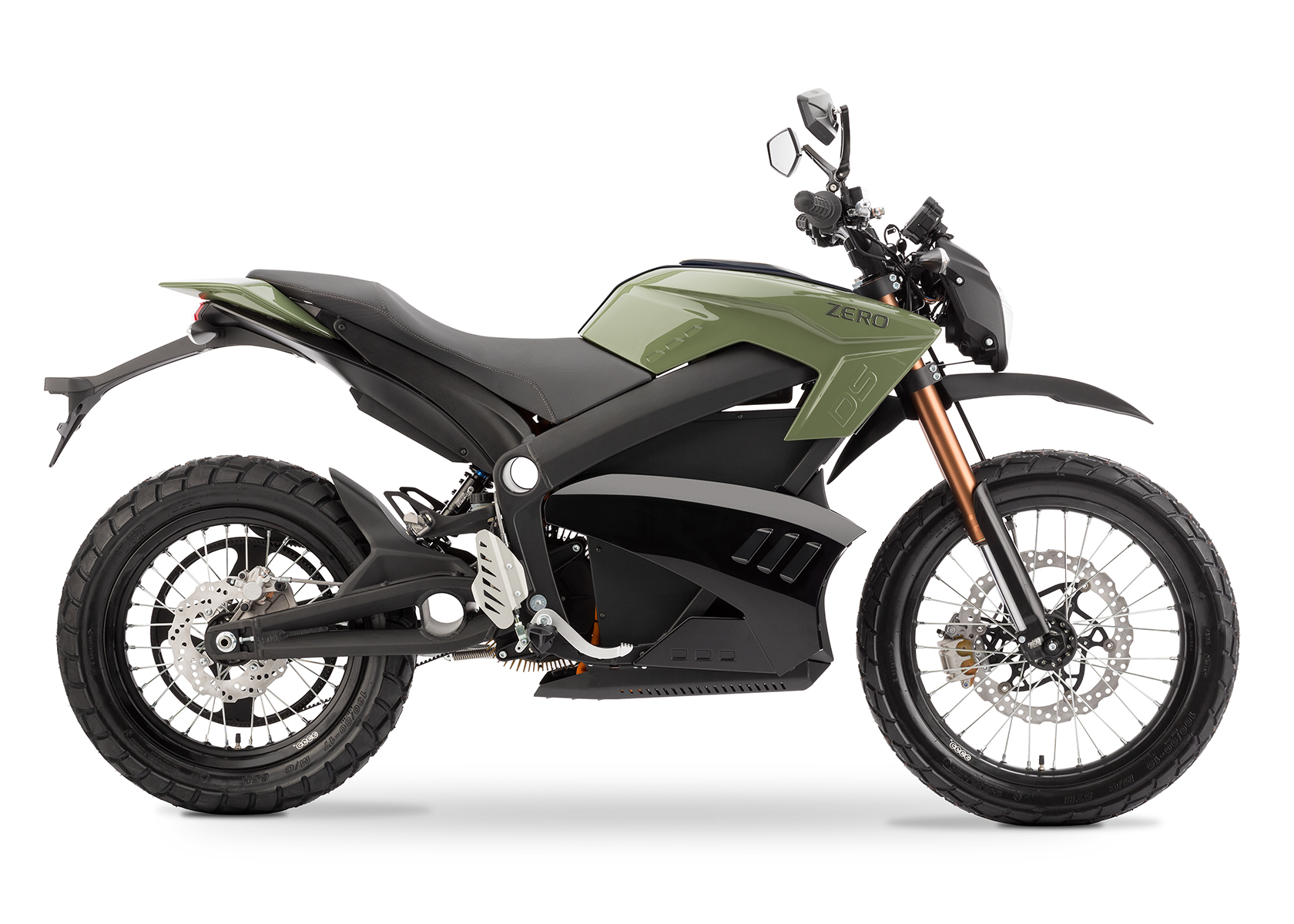'.2013 Zero DS Electric Motorcycle: Green Profile Right, White Background.'