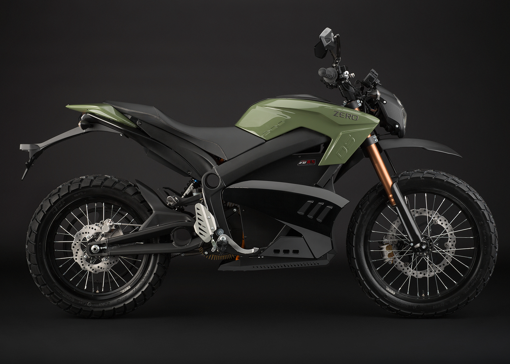 '.2013 Zero DS Electric Motorcycle: Green Profile Right.'