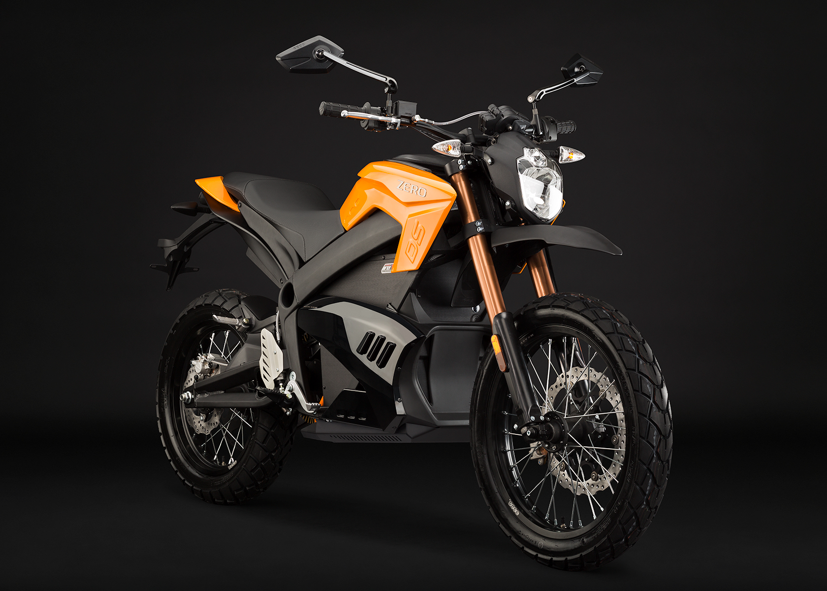'.2013 Zero DS Electric Motorcycle: Orange Angle Right.'