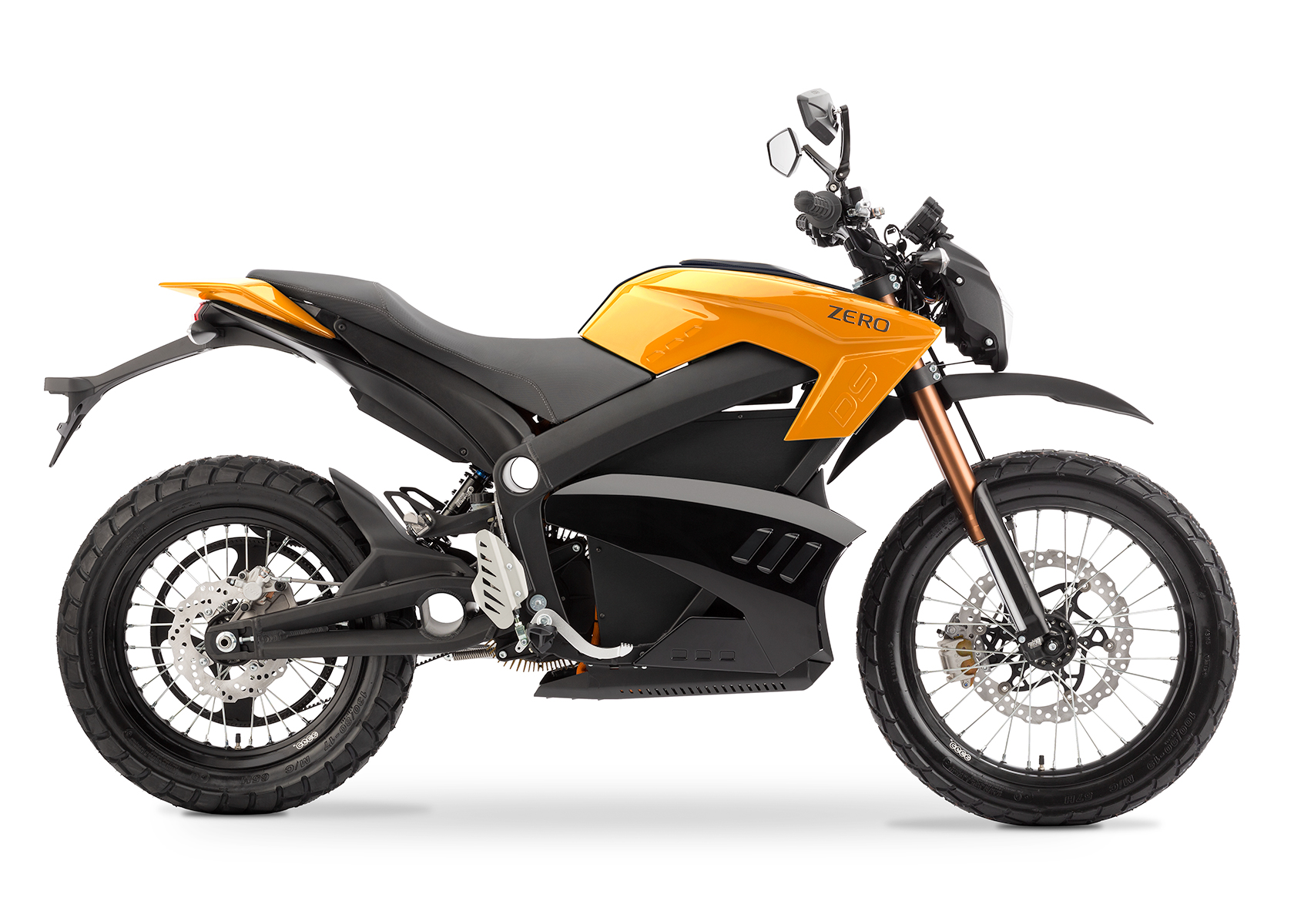 '.2013 Zero DS Electric Motorcycle: Orange Profile Right, White Background.'