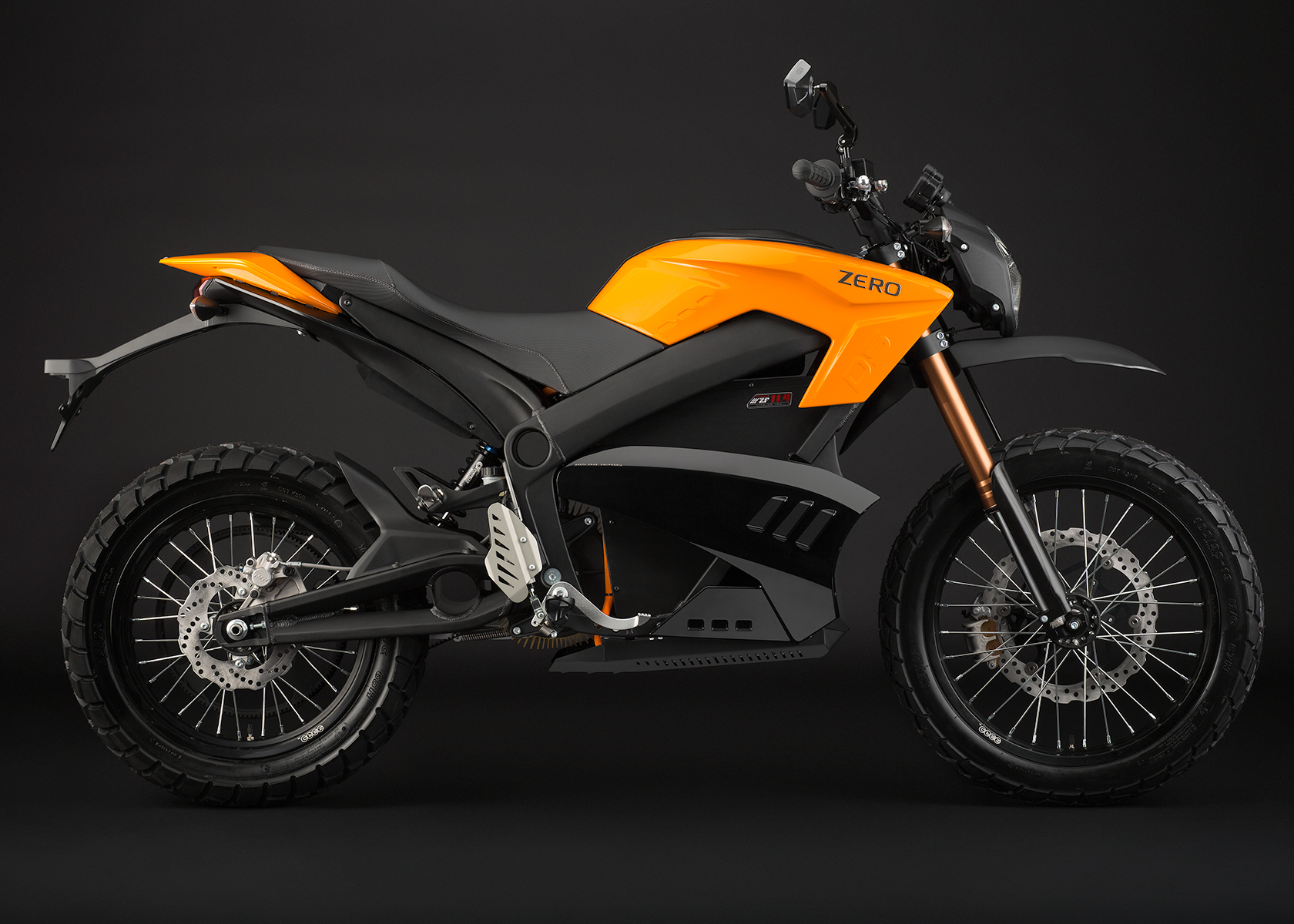 '.2013 Zero DS Electric Motorcycle: Orange Profile Right.'