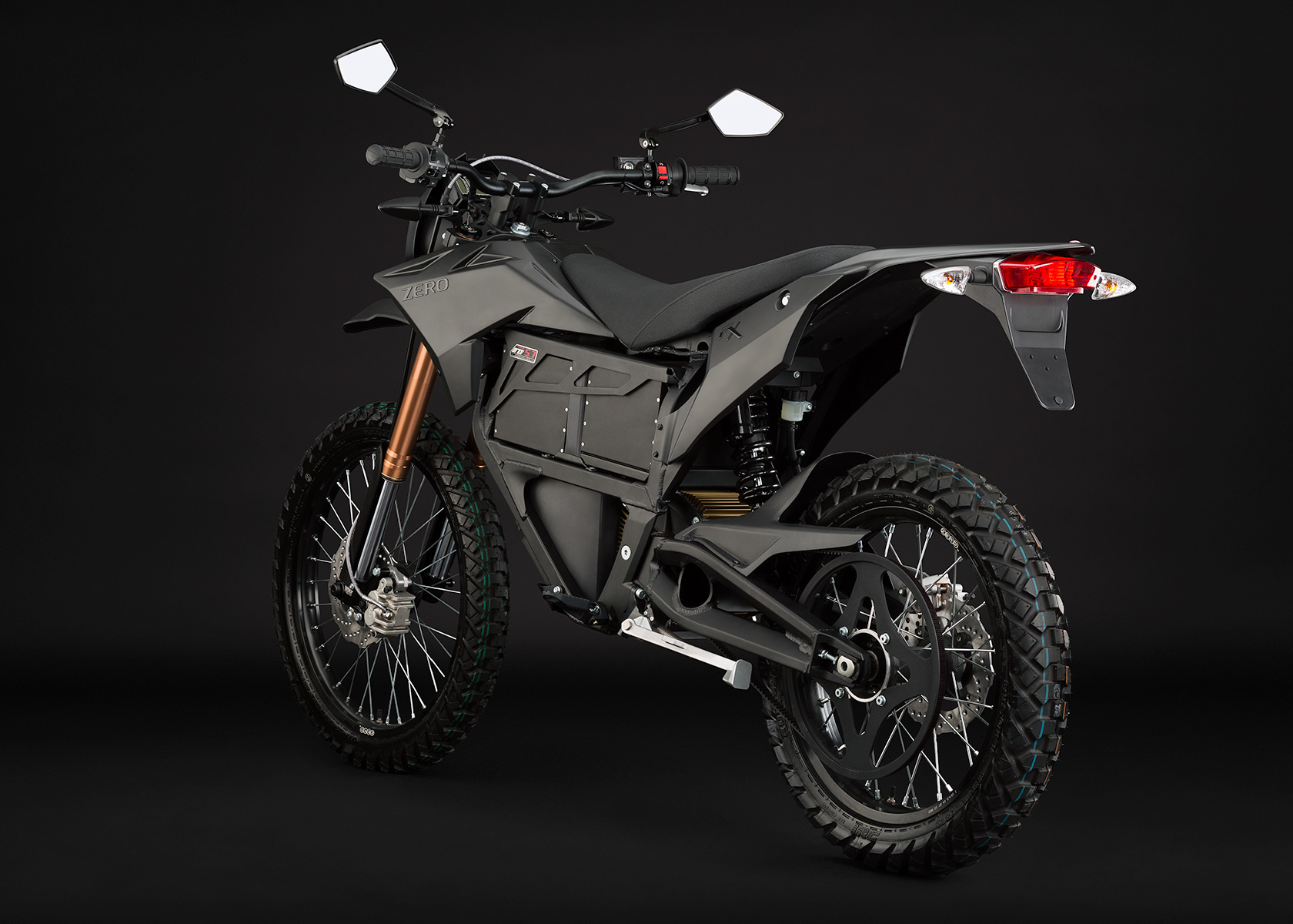 '.2013 Zero FX Electric Motorcycle: Black Angle Left.'