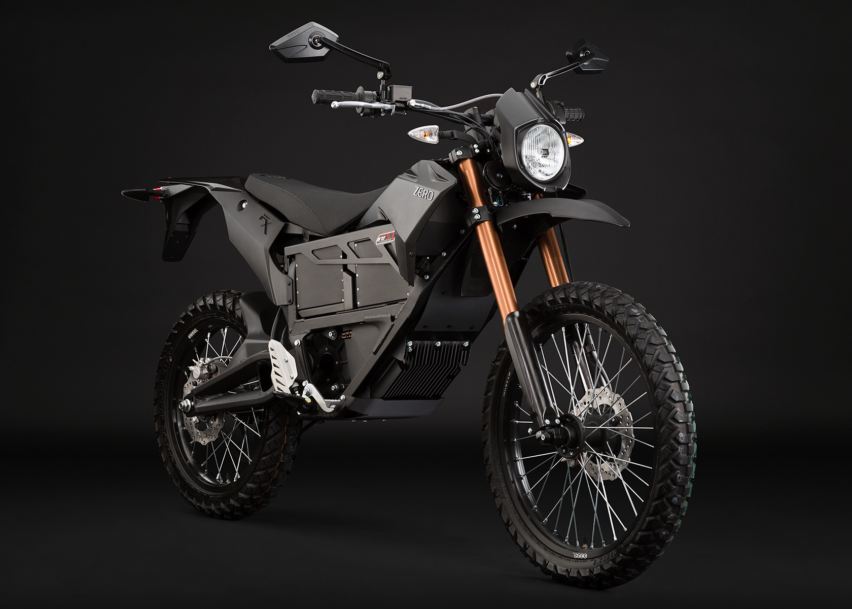 '.2013 Zero FX Electric Motorcycle: Black Angle Right.'