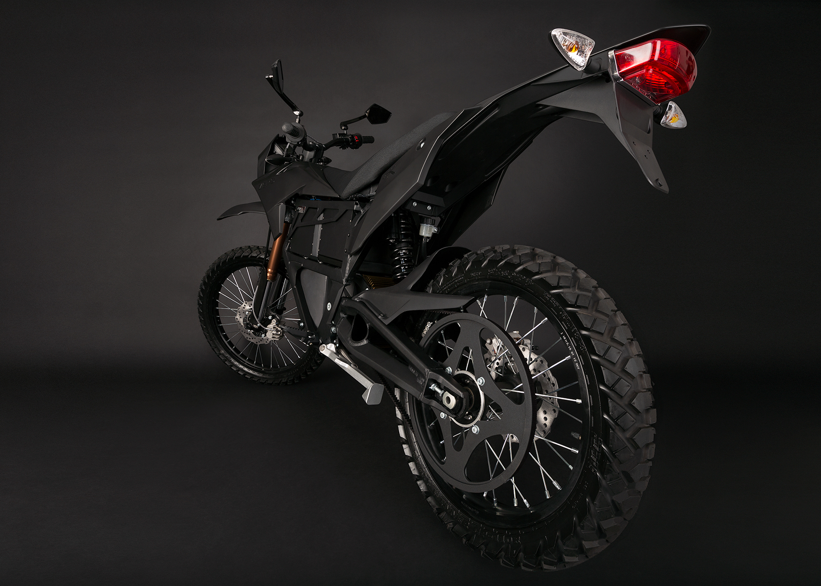 '.2013 Zero FX Electric Motorcycle: Black, Rear View.'