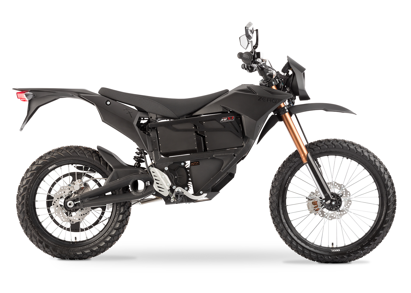 '.2013 Zero FX Electric Motorcycle: Black Profile Right, White Background.'