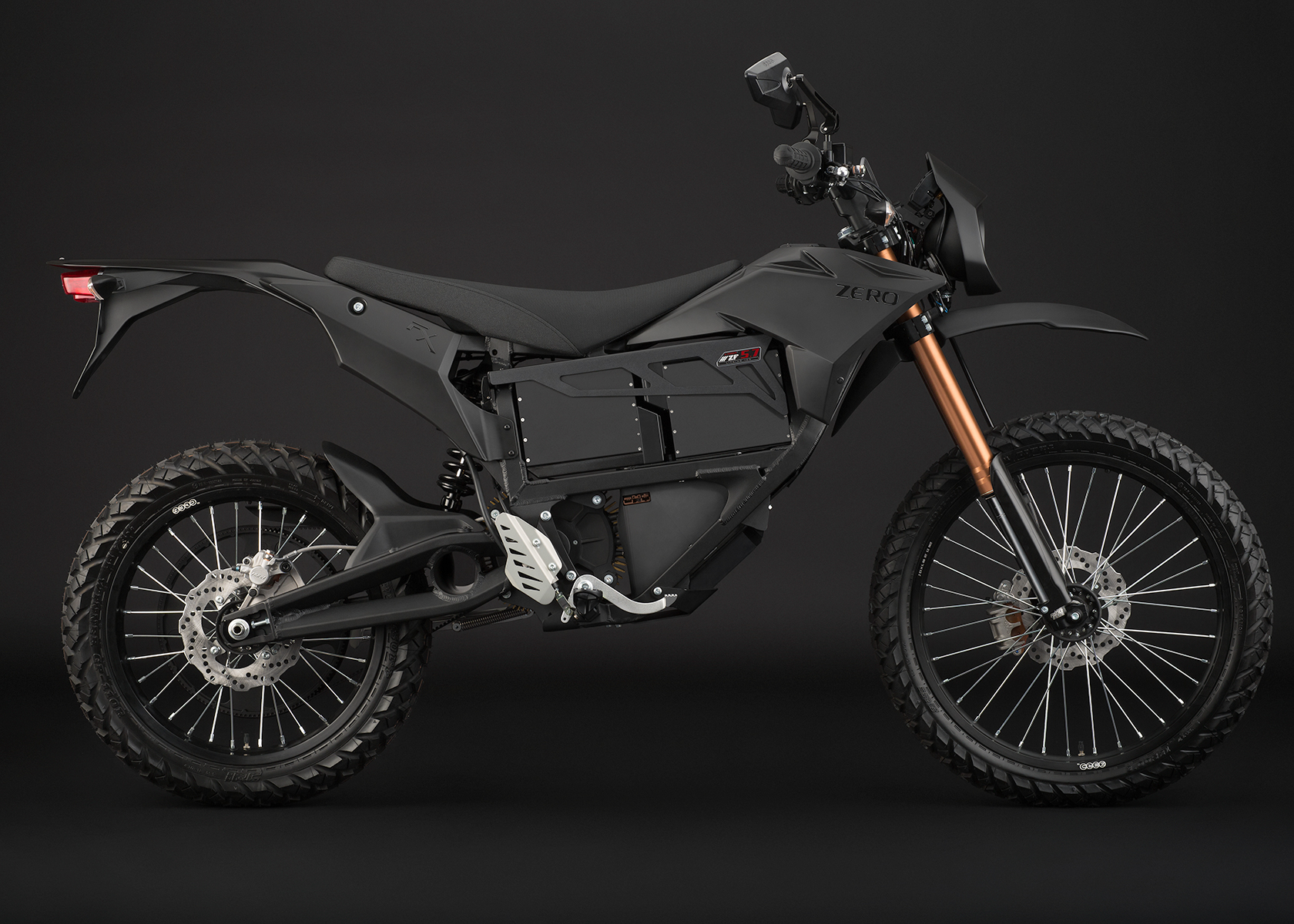 '.2013 Zero FX Electric Motorcycle: Black Profile Right.'