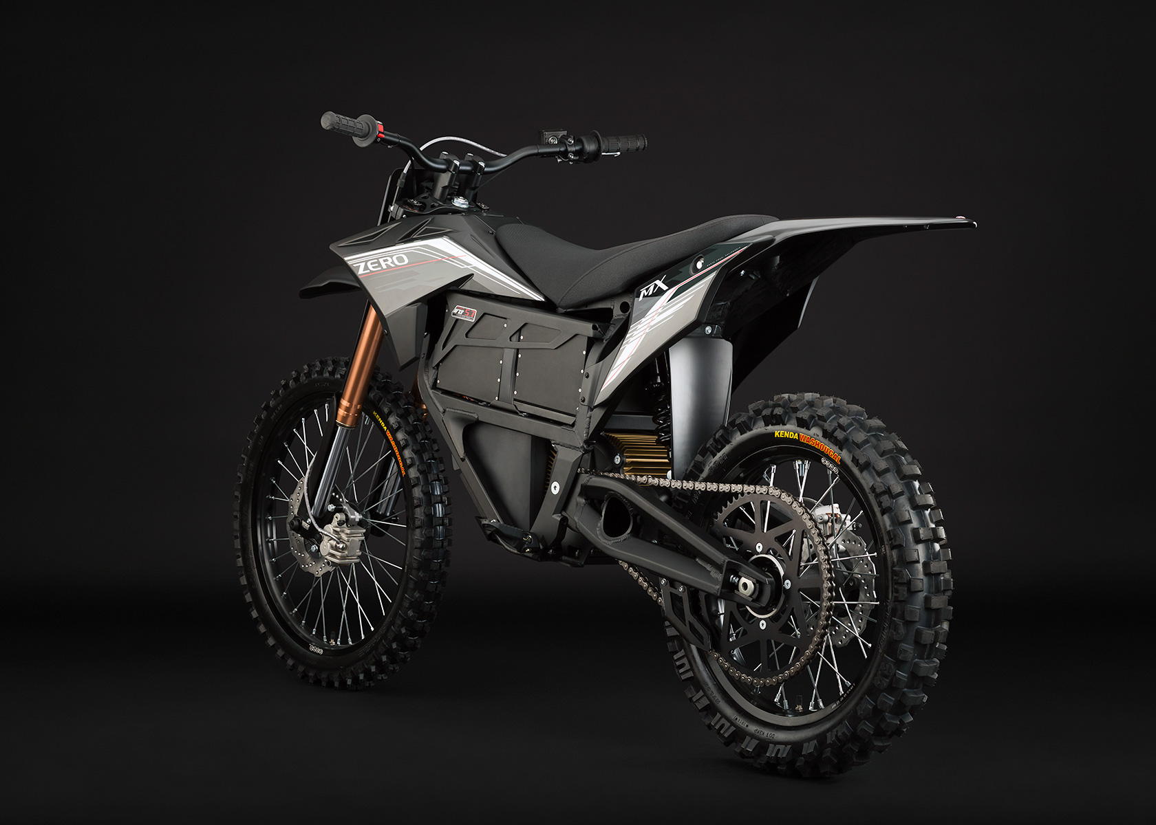 '.2013 Zero MX Electric Motorcycle: Black Angle Left.'