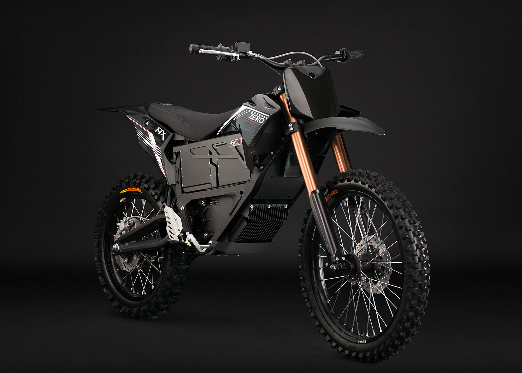 '.2013 Zero MX Electric Motorcycle: Black Angle Right.'