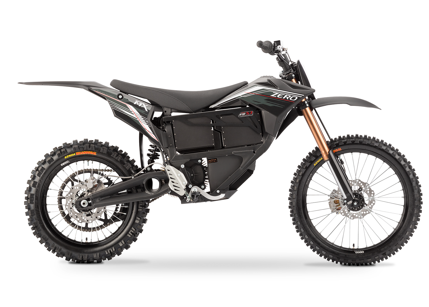 '.2013 Zero MX Electric Motorcycle: Black Profile Right, White Background.'